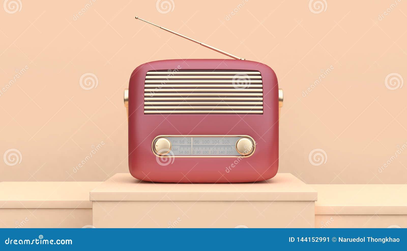 Conceito de rádio retro da tecnologia do ouro vermelho da rendição 3d