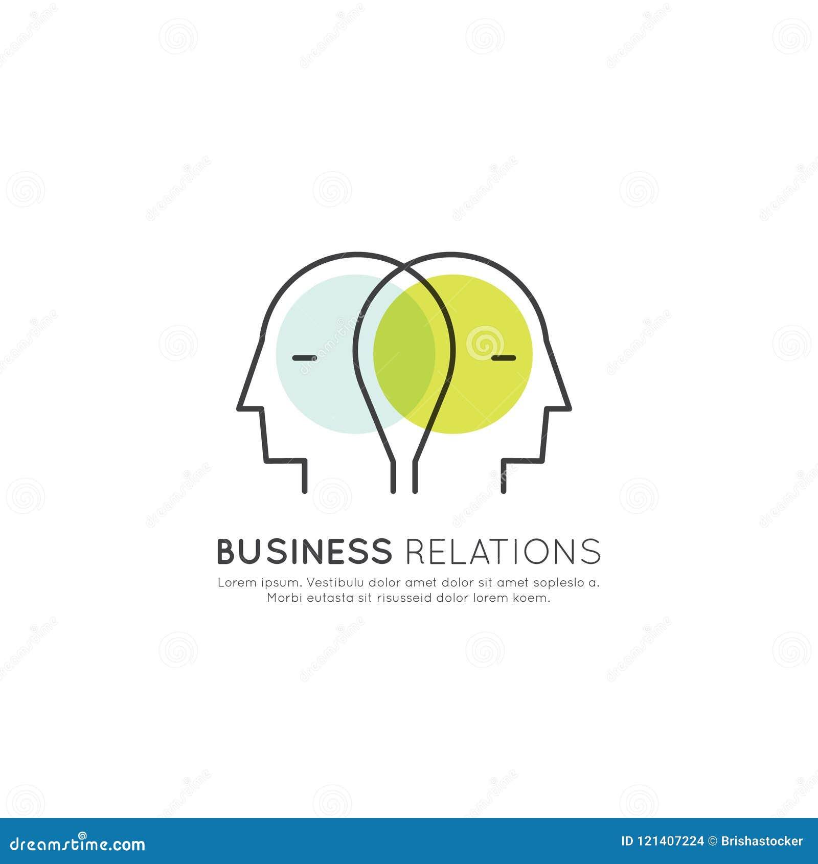 Conceito de relações de negócio e parceria, duas cabeças humanas conectadas, conceituando, conceito da cooperação