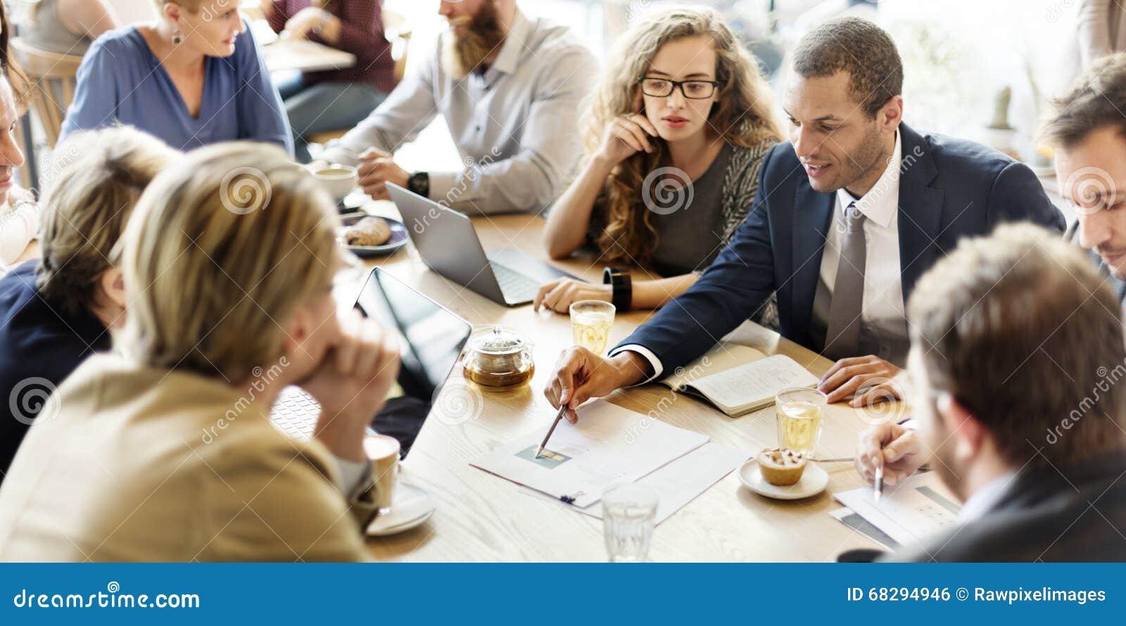 Conceito de Team Meeting Strategy Marketing Cafe do negócio