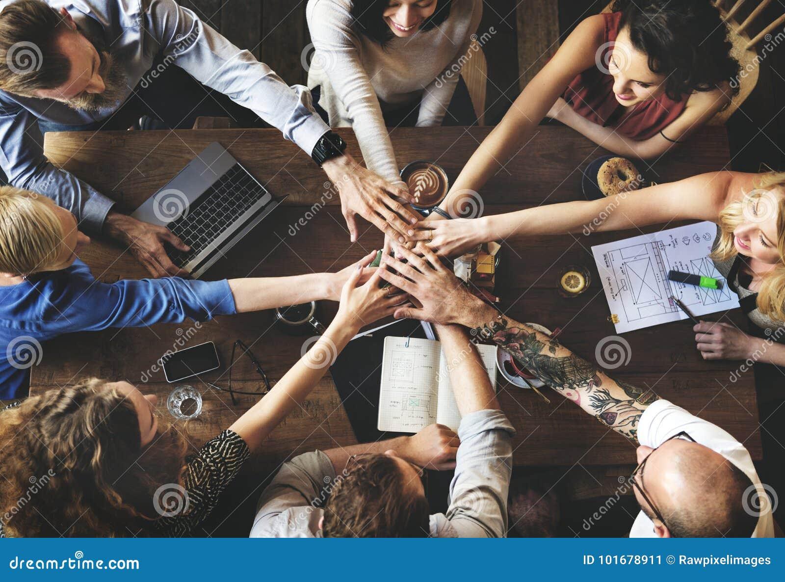 Conceito de Team Unity Friends Meeting Partnership