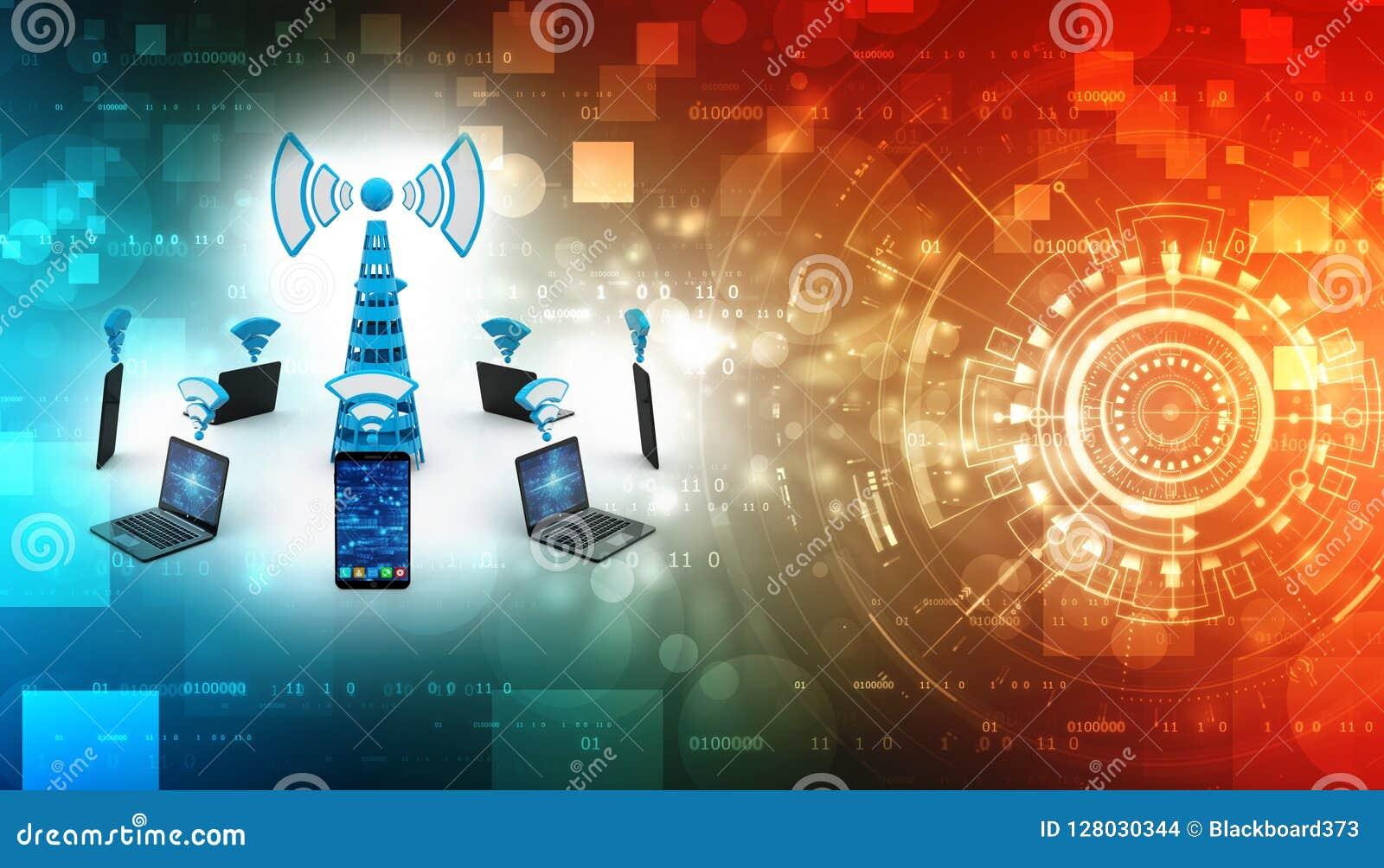 Conceito de uma comunicação do Internet, conceito sem fio do Internet 3D rendido