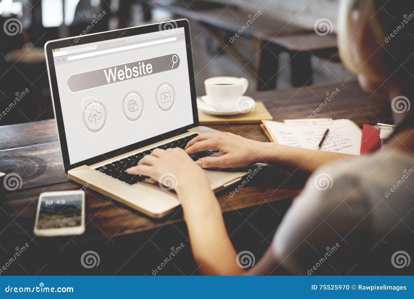 Conceito do ícone da nuvem do globo do jogador da barra da busca do Web site