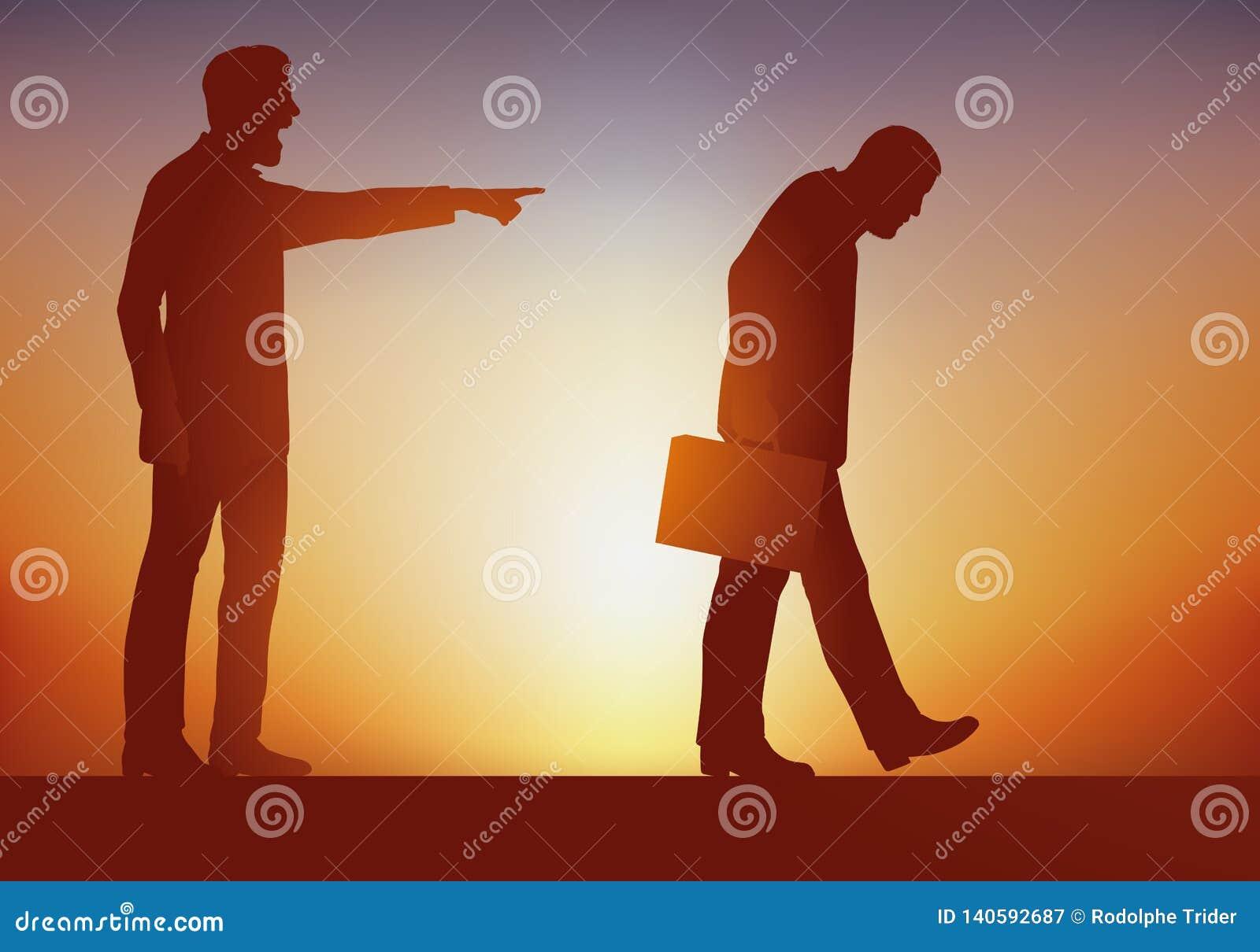 Conceito do abuso de poder, com um chefe que envie sem mercê, um de seus empregados