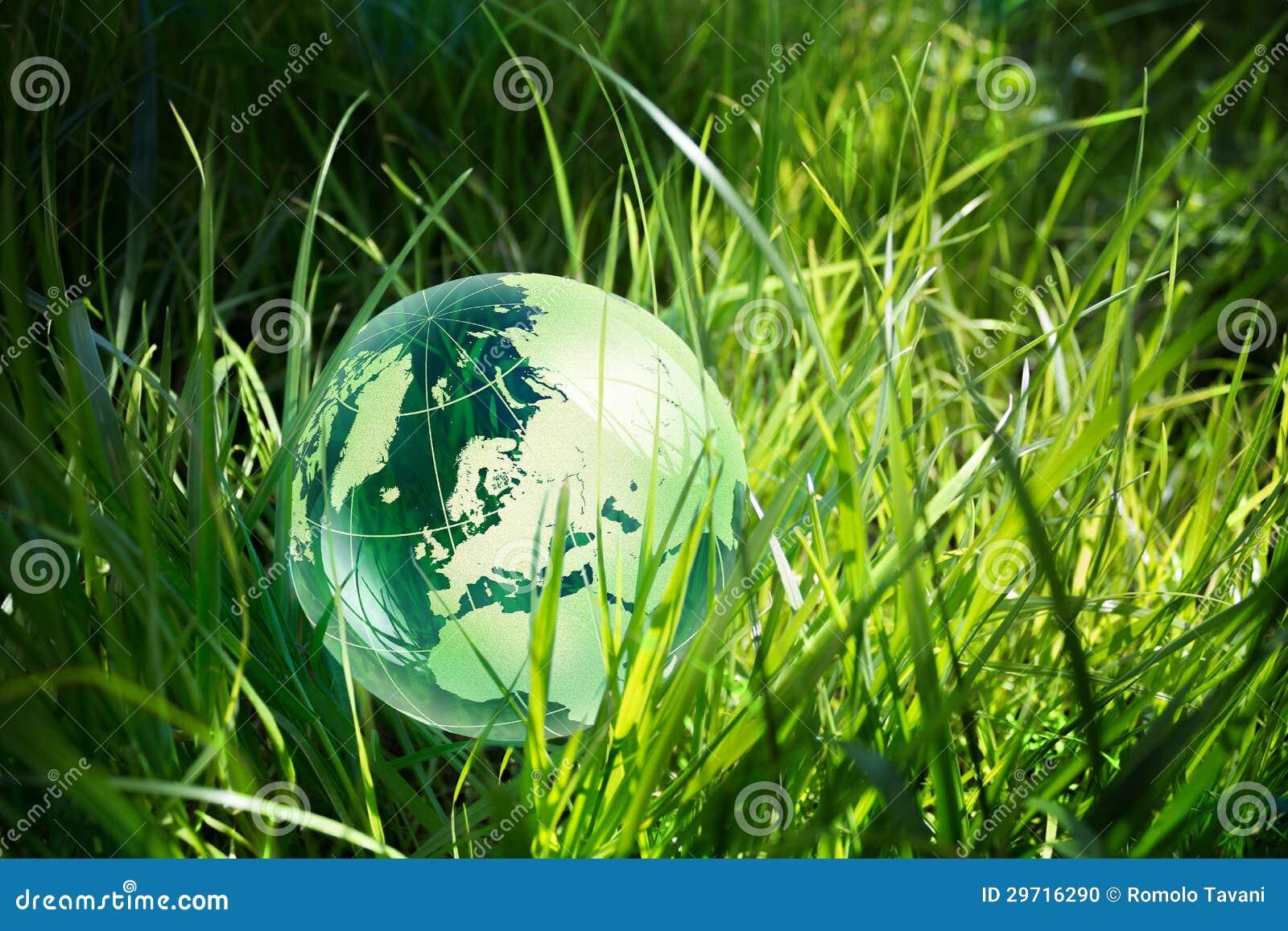 Globo de vidro na grama