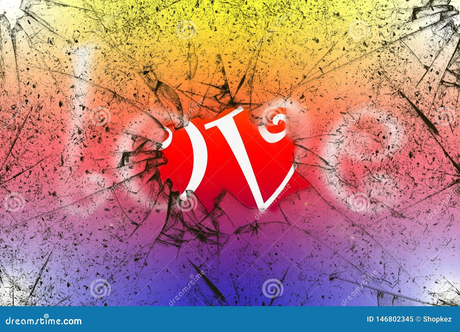 Conceito do amor da palavra atrás do vidro quebrado com fundo colorido brilhante
