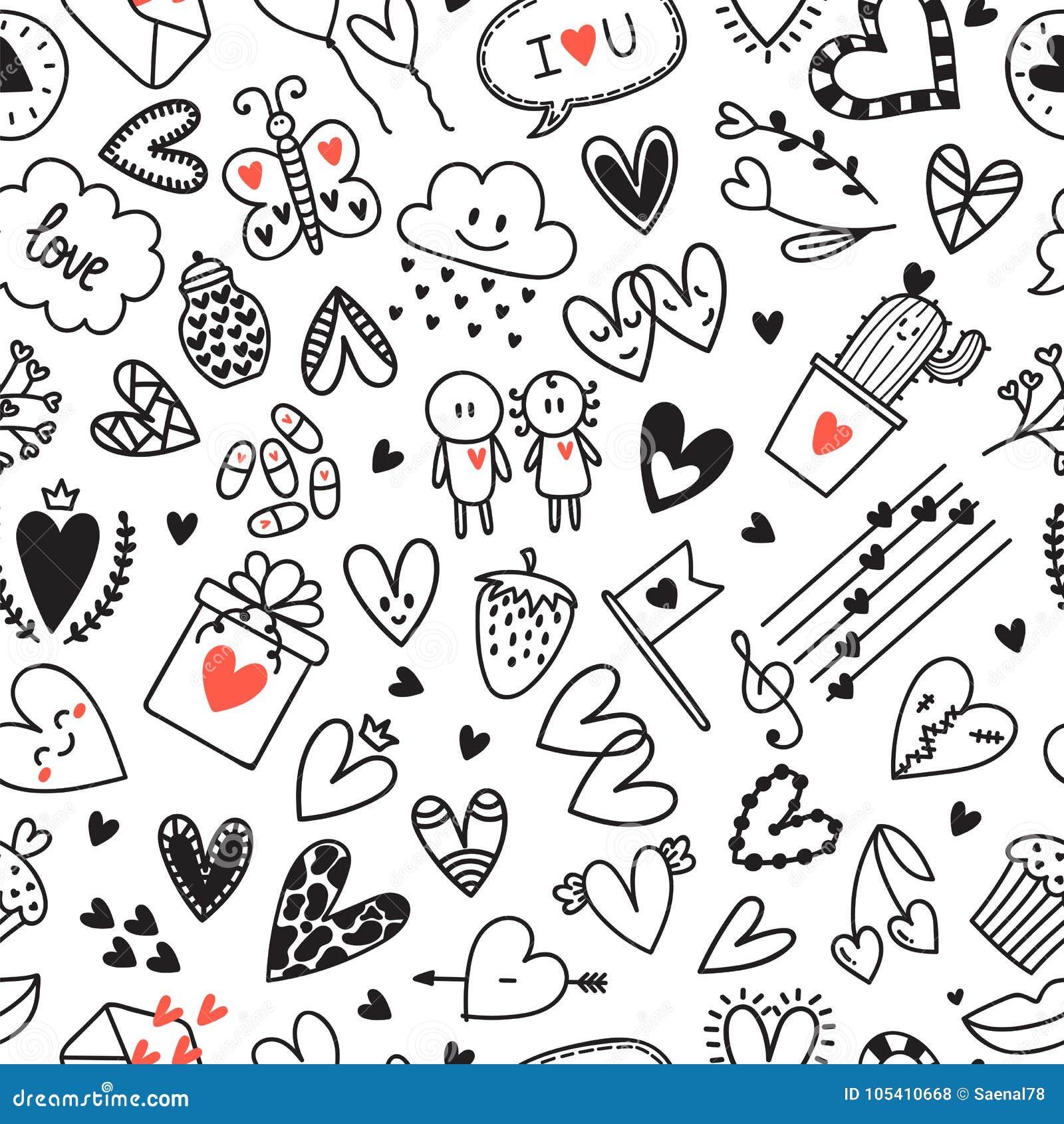 Conceito Do Amor Teste Padrão Sem Emenda Romântico Tirado Mão