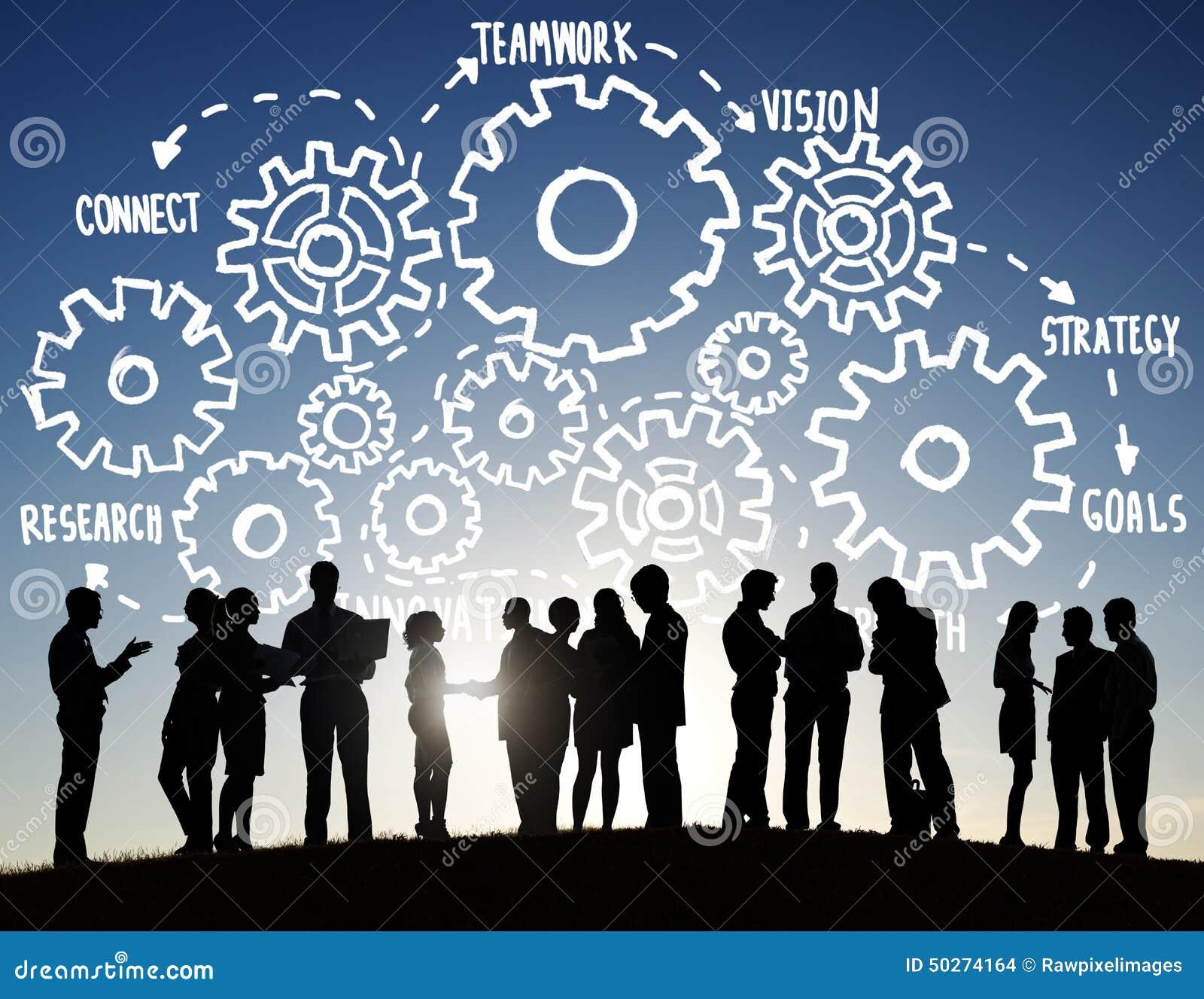 Conceito do apoio às empresas de Team Teamwork Goals Strategy Vision