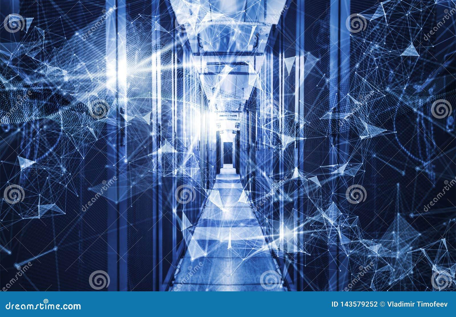 Conceito do armazenamento de dados da tecnologia da informação, da computação e  Composição abstrata com pontos e linhas e triâng