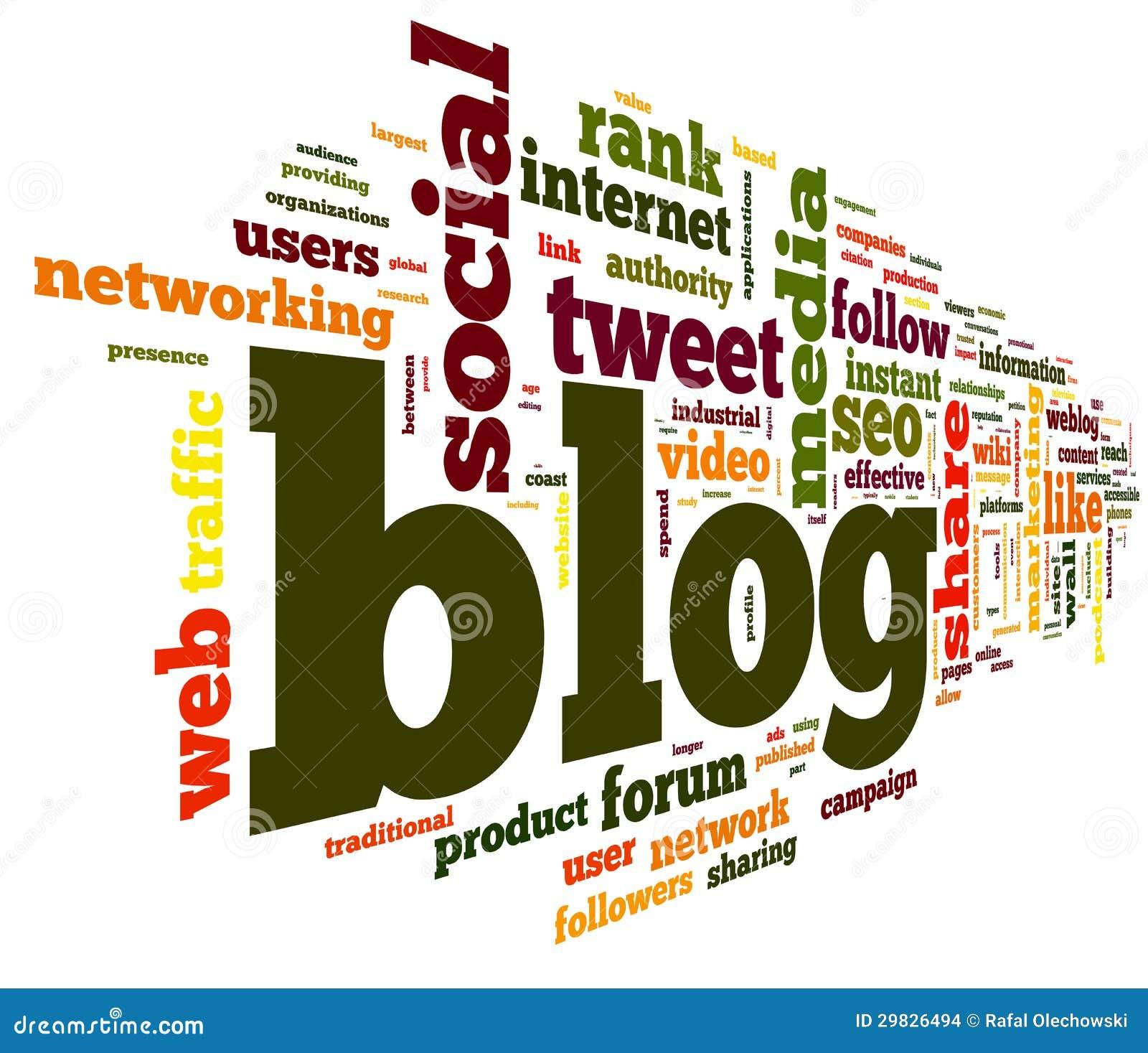 Conceito do blogue na nuvem do Tag da palavra