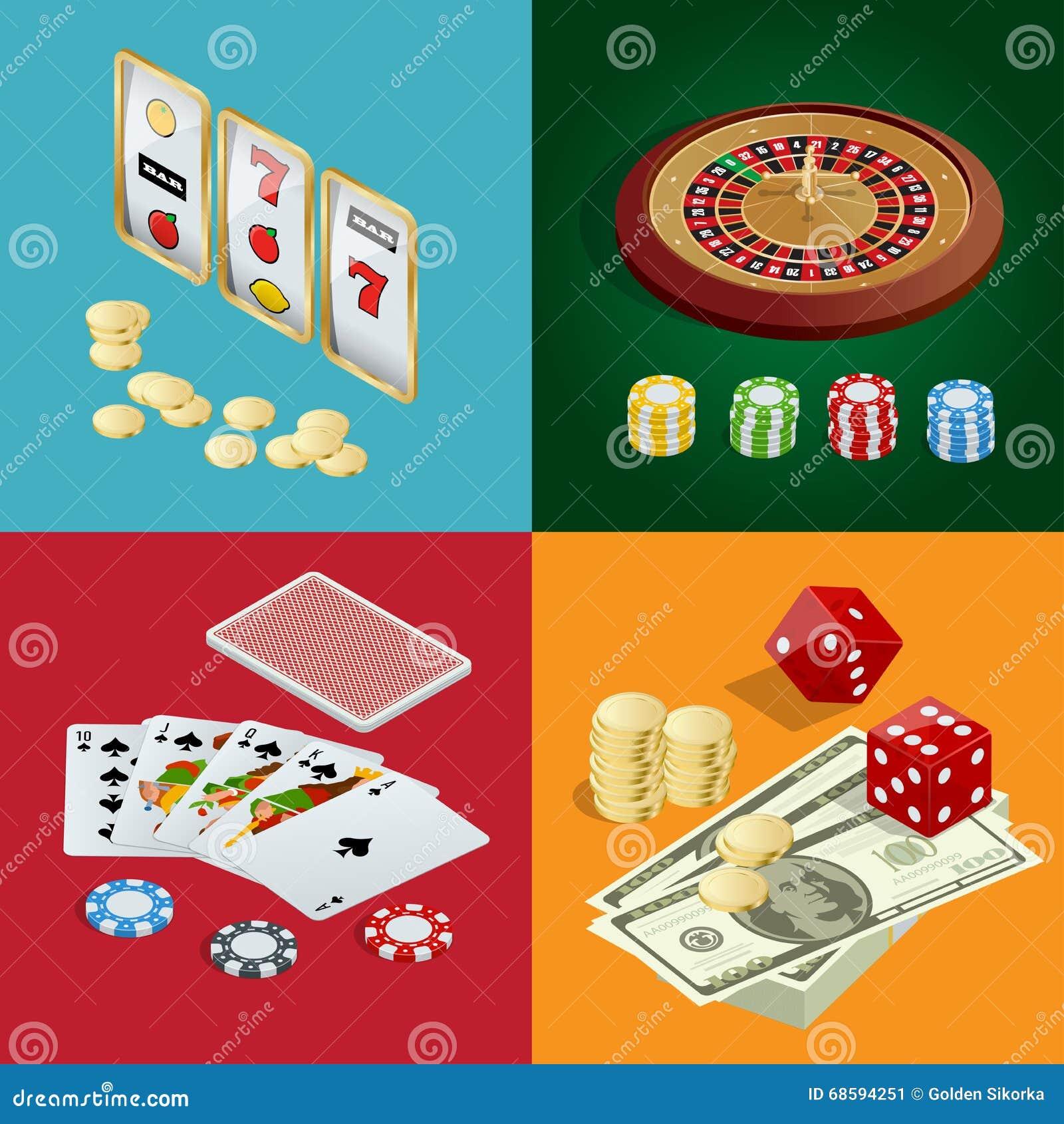 Conceito do CASINO Fundo do casino com cartões, microplaquetas, excrementos e roleta Ilustração isométrica do vetor 3d liso