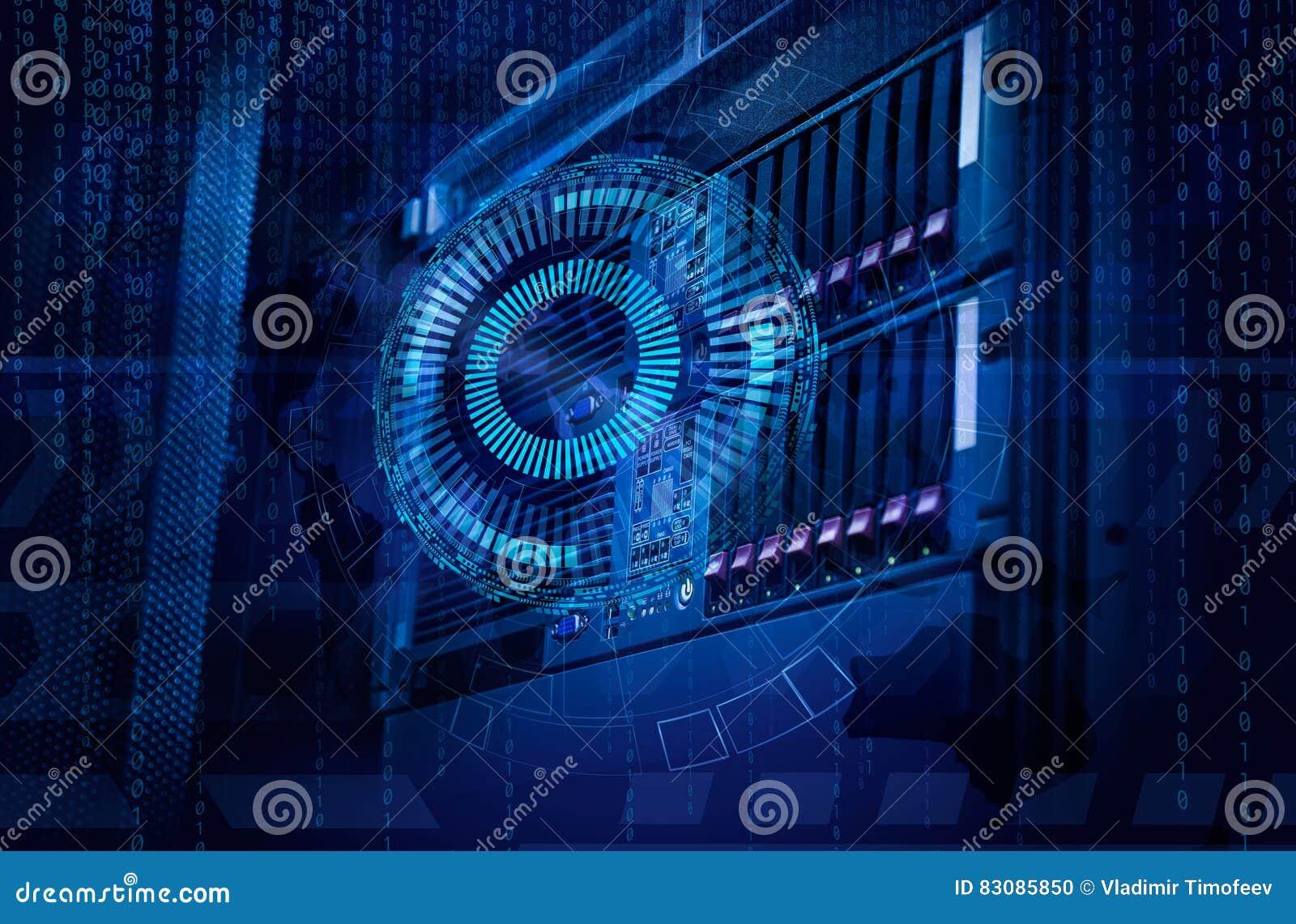 Conceito do centro de dados do armazenamento de disco Tecnologia da informação e base de dados no fundo tecnologico