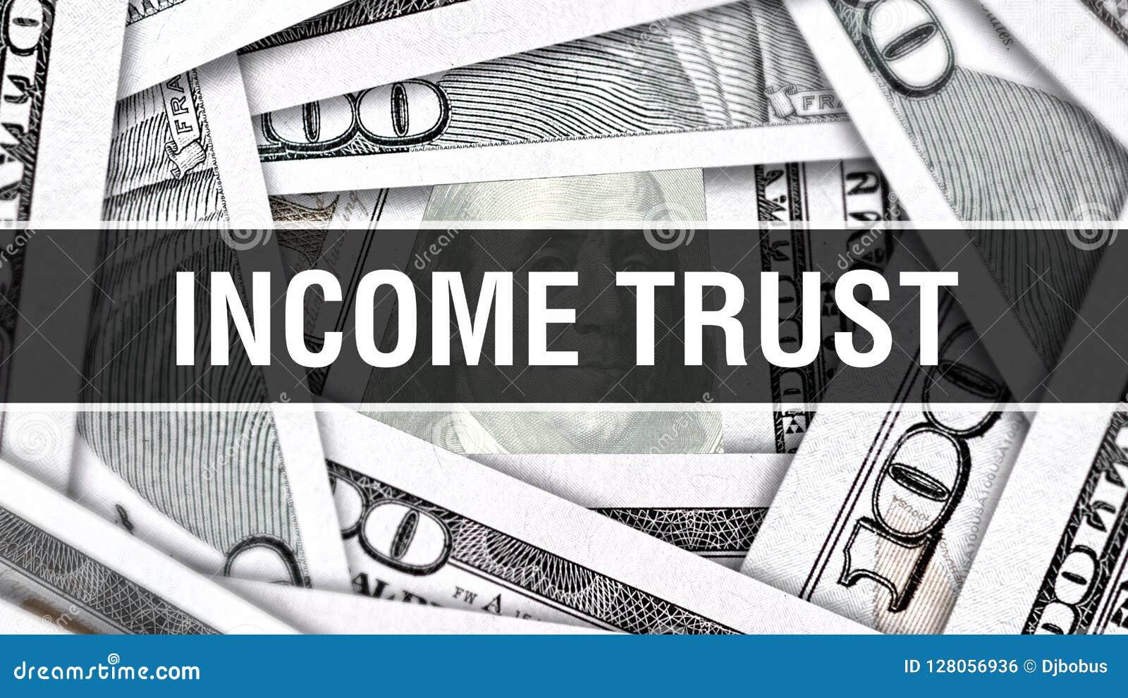 Conceito do close up da confiança da renda Dólares americanos do dinheiro do dinheiro, rendição 3D Confiança da renda na cédula d