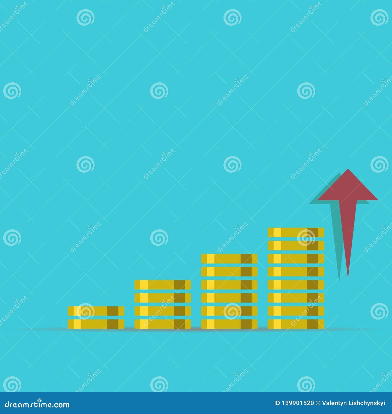 Conceito do crescimento ilustração do rendimento do dinheiro Pilhas de moedas de ouro como o gráfico da renda com libra Ilustraçã