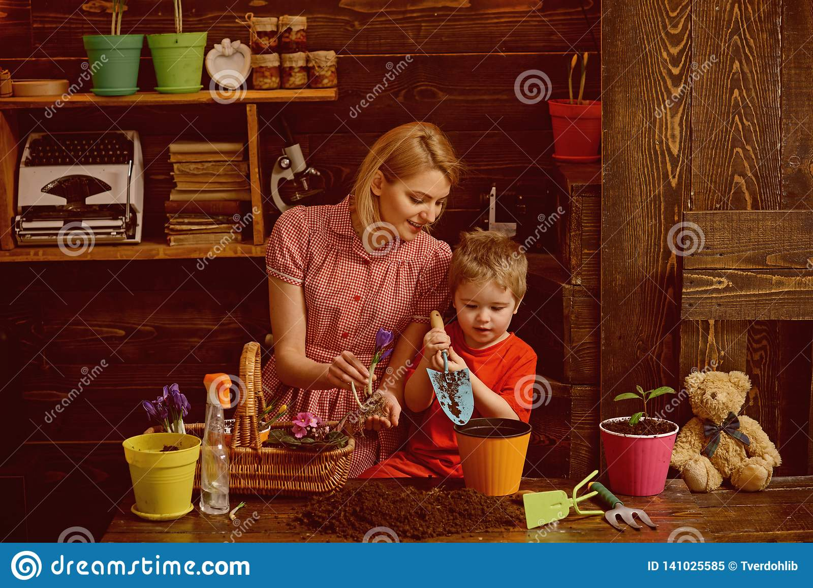 Conceito do cuidado Mãe da ajuda da criança pequena a importar-se com plantas A planta da mãe e do filho floresce com cuidado Tom