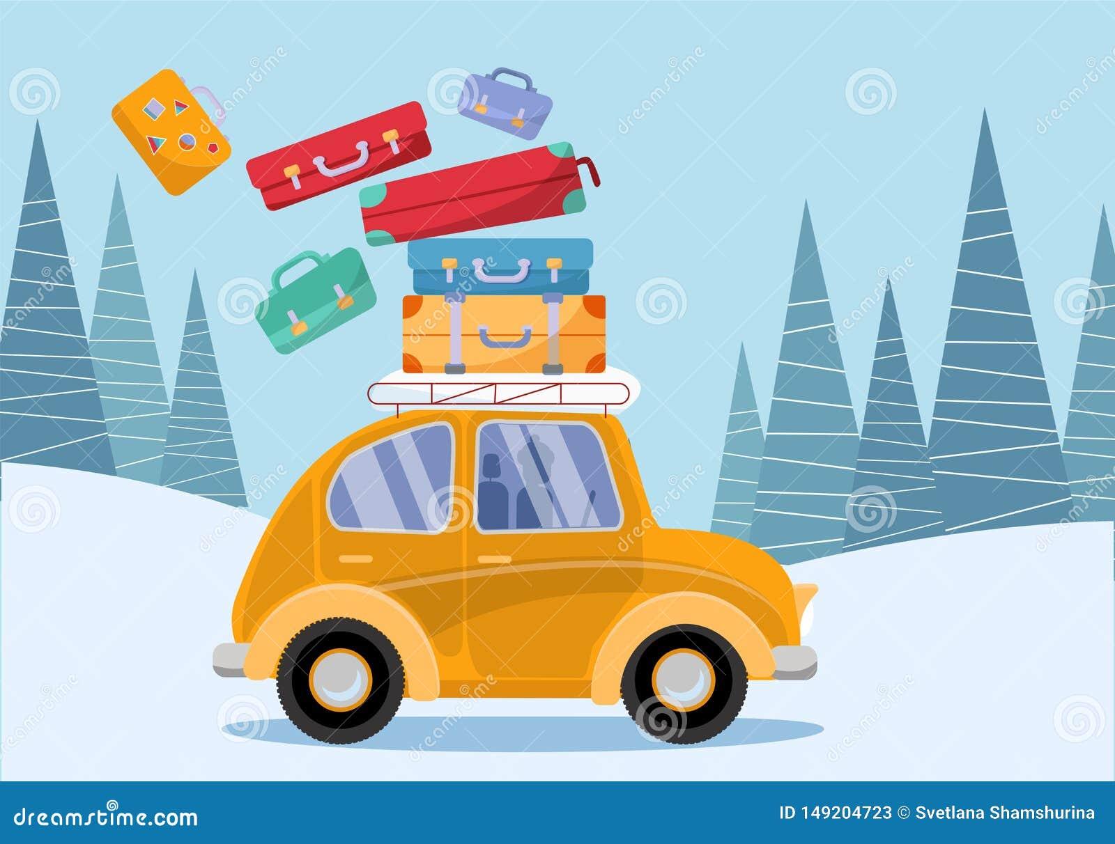 Conceito do curso Carro amarelo do vintage com as malas de viagem do curso no telhado Turismo do inverno, curso, viagem Ilustra??