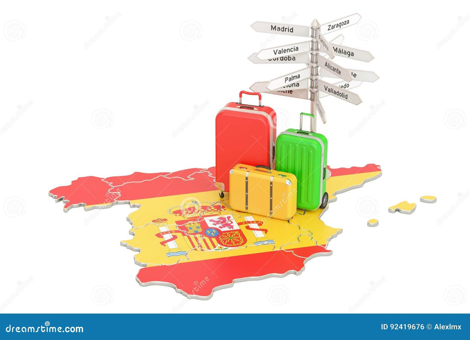 Conceito do curso da Espanha Bandeira espanhola no mapa com malas de viagem e sig