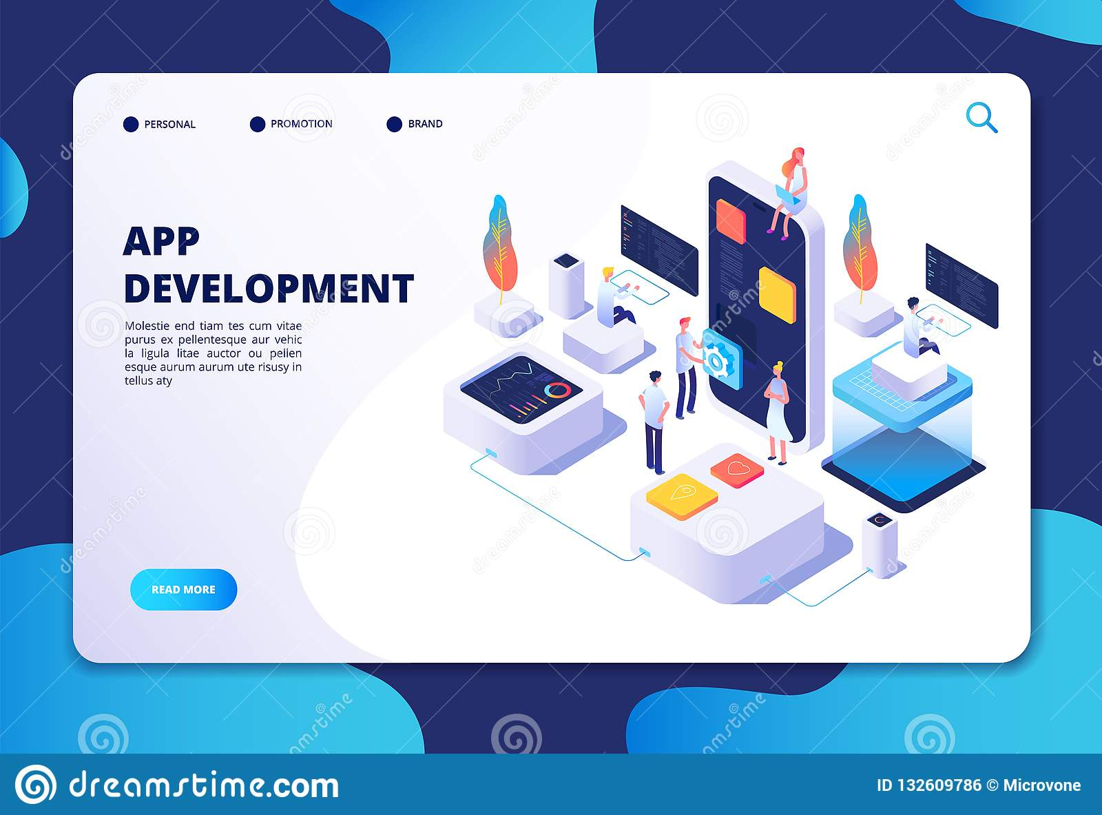 Conceito do desenvolvimento do App Trabalho do desenhista do colaborador na aplicação móvel do smartphone Vetor isométrico person