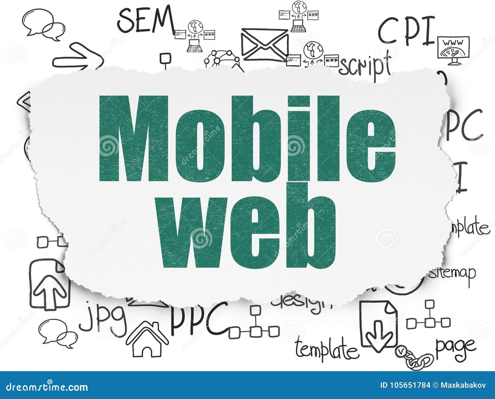 Conceito do desenvolvimento da Web: Web móvel no fundo de papel rasgado