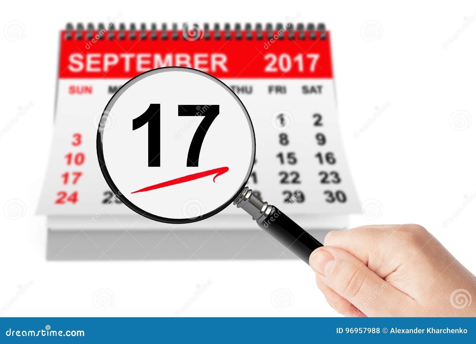 Conceito do dia da constituição 17 de setembro de 2017 calendário com lente  de aumento em um fundo branco 707b9f855c