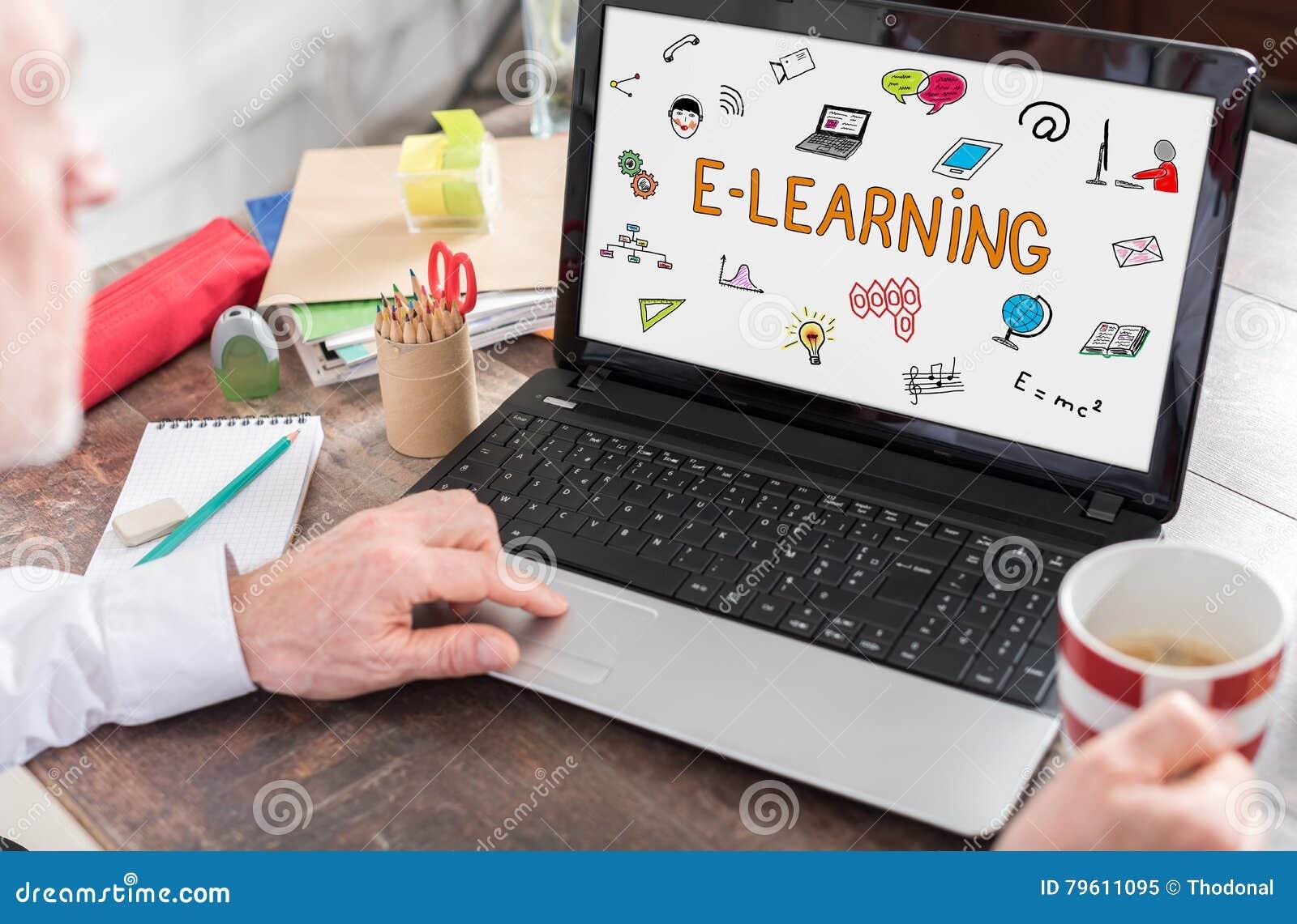 Conceito do ensino eletrónico em uma tela do portátil