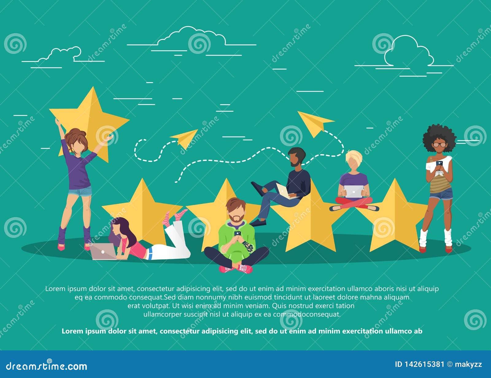 Conceito do feedback, das mensagens das homenagens e das notificações Avaliação na ilustração do serviço ao cliente
