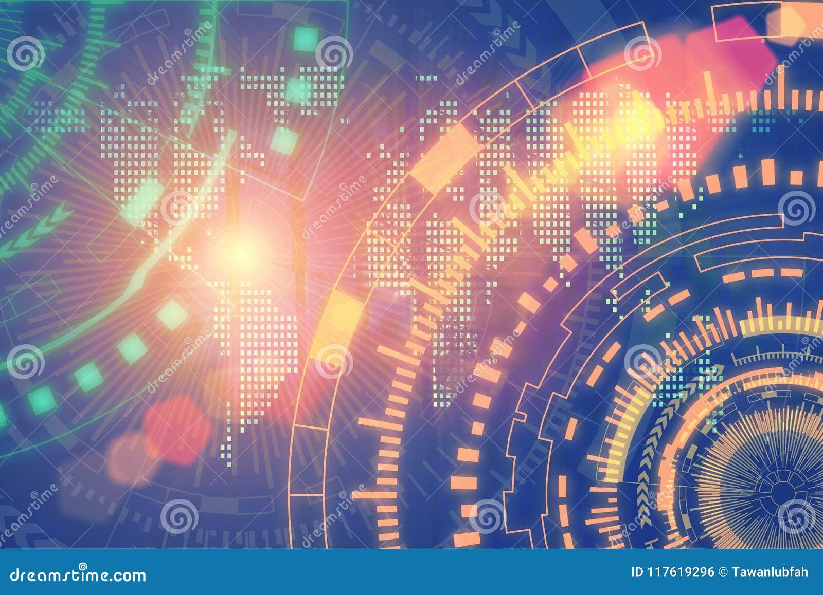 Conceito do fundo da tecnologia e da conexão Futuristi abstrato