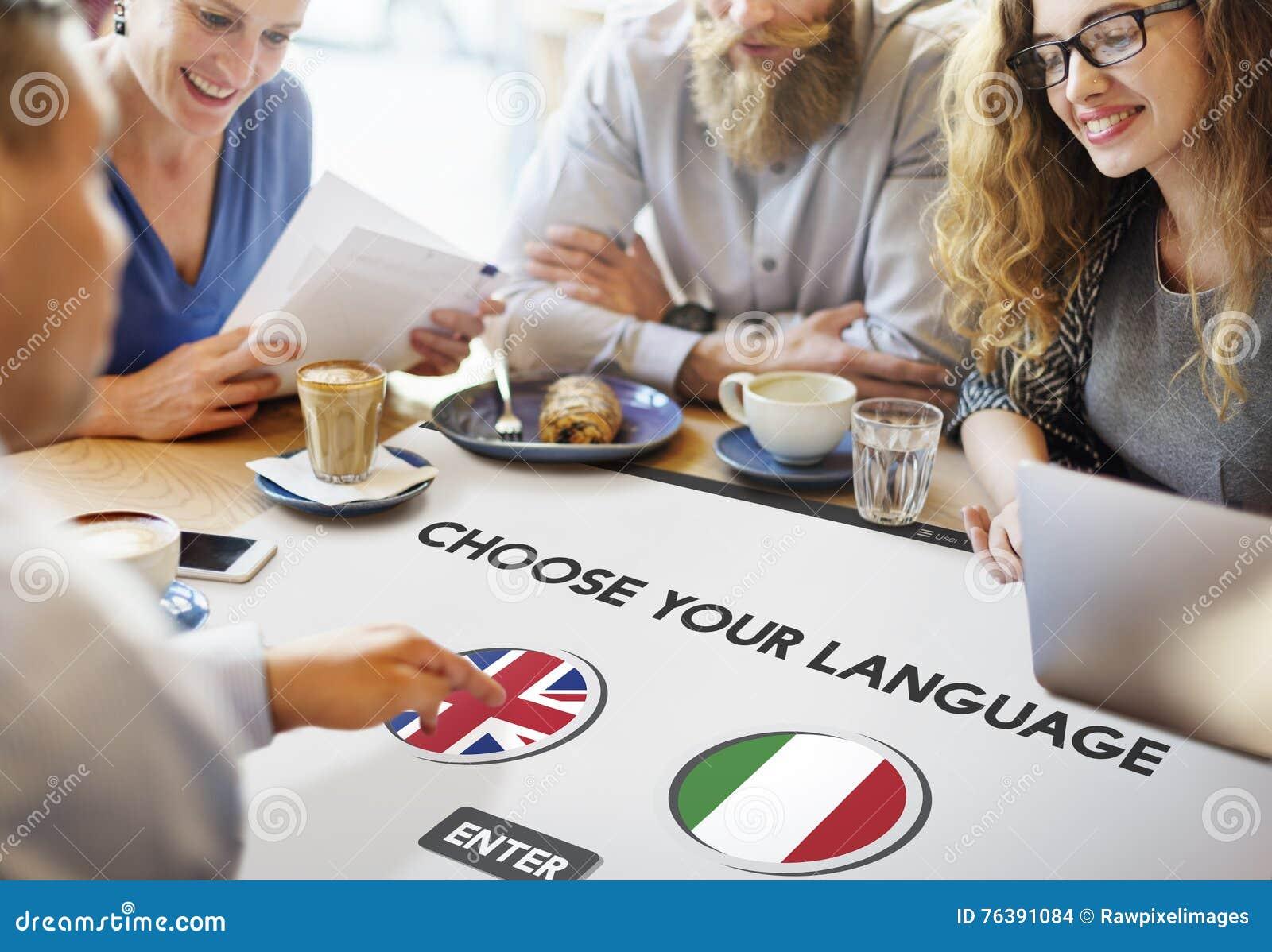 Conceito do inglês-italiano do dicionário de língua