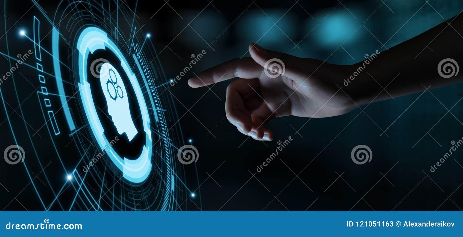Conceito do Internet da tecnologia do negócio da aprendizagem de máquina do AI da inteligência de Digitas Brain Artificial