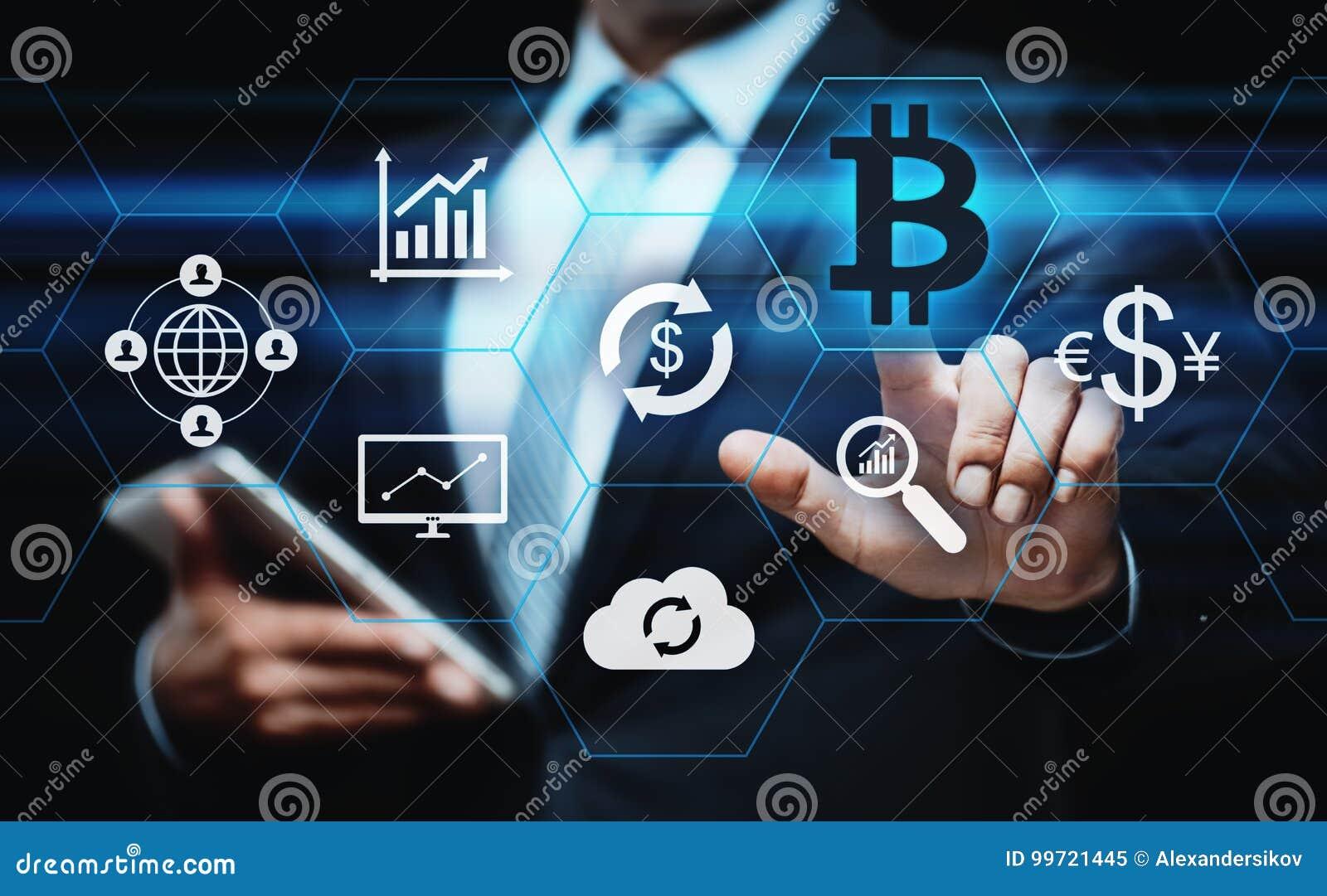 Conceito do Internet do negócio da tecnologia da moeda da moeda BTC do bocado de Bitcoin Cryptocurrency Digital