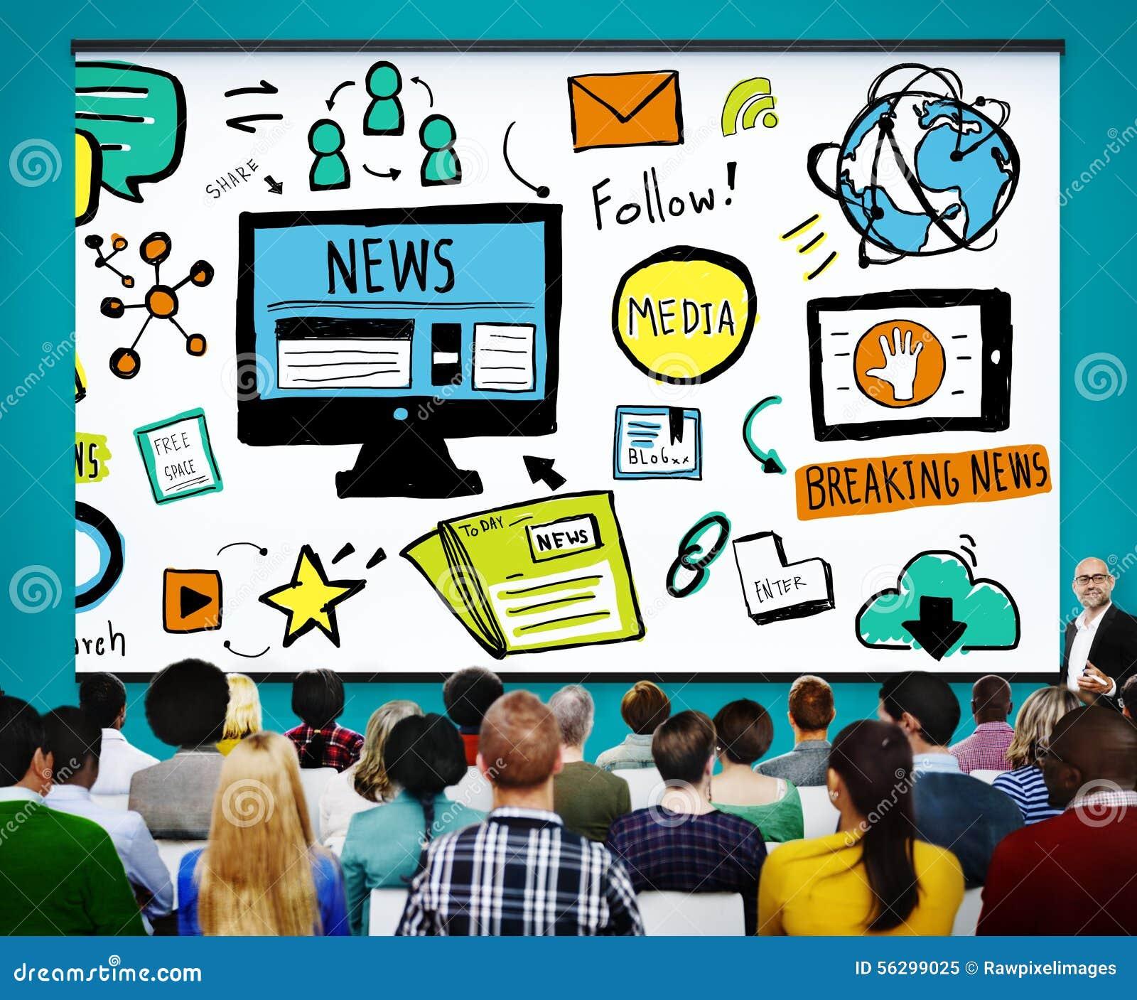 Conceito do jornalismo dos meios da publicação da propaganda do artigo noticioso