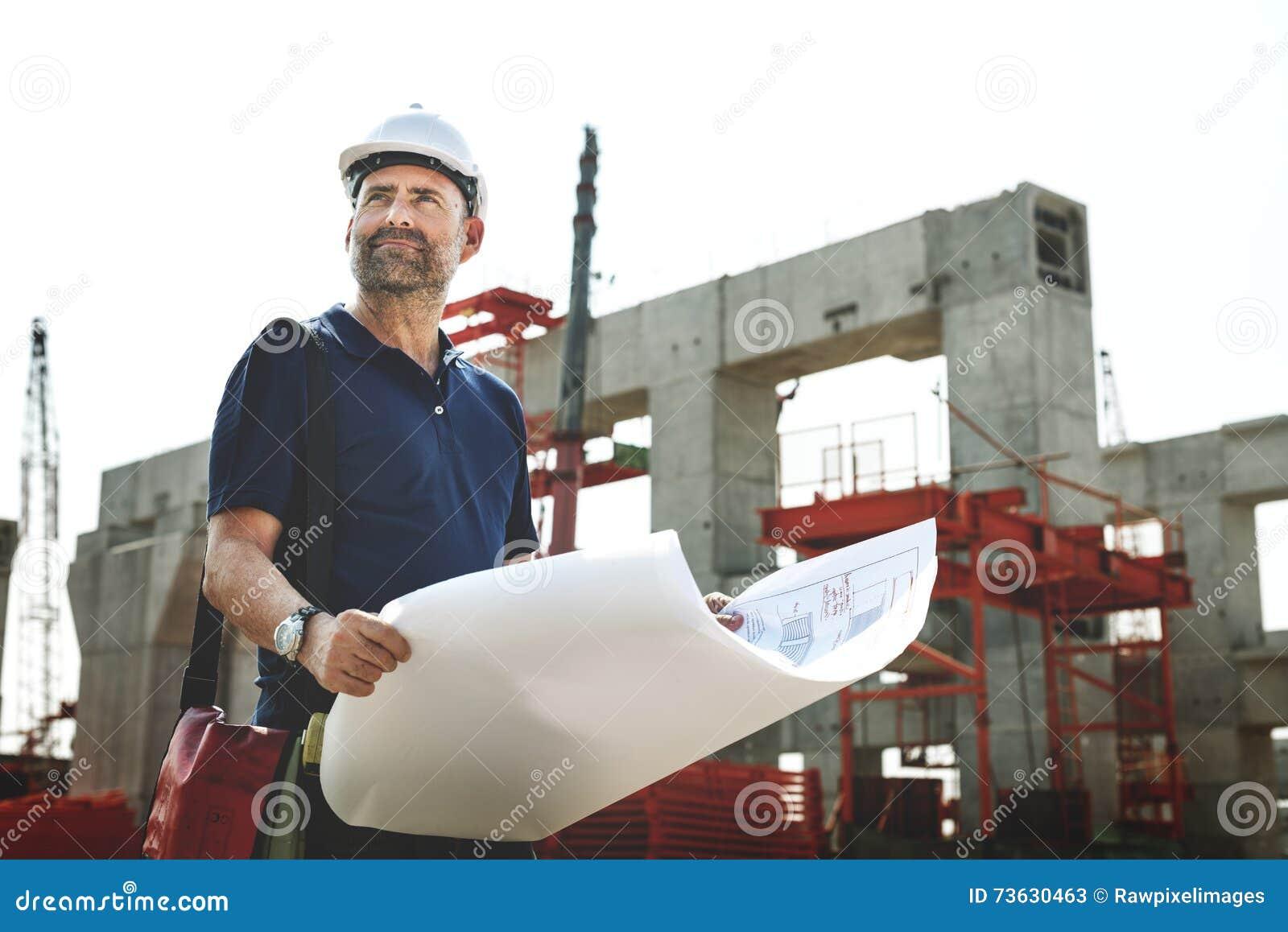 Conceito do local de Outdoors Working Construction do arquiteto