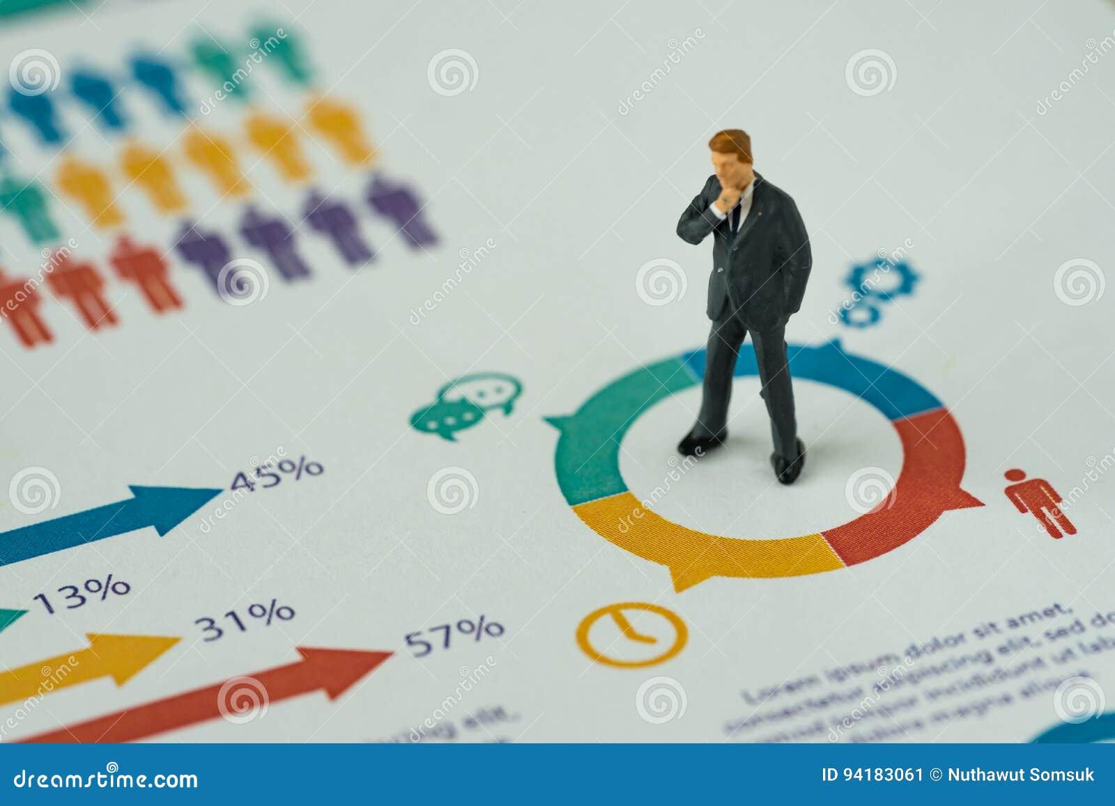 Conceito do negócio como o pensamento diminuto do homem de negócios dos povos e o st