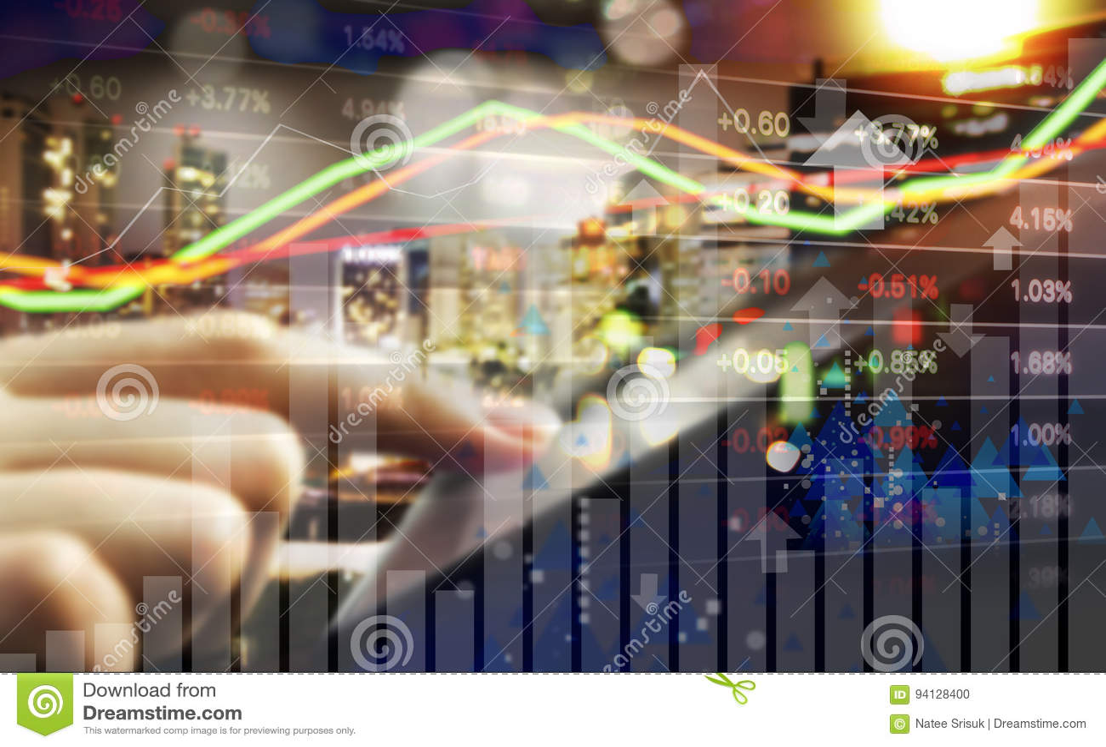Conceito do negócio do mercado de valores de ação de troca da mão da mulher de negócio