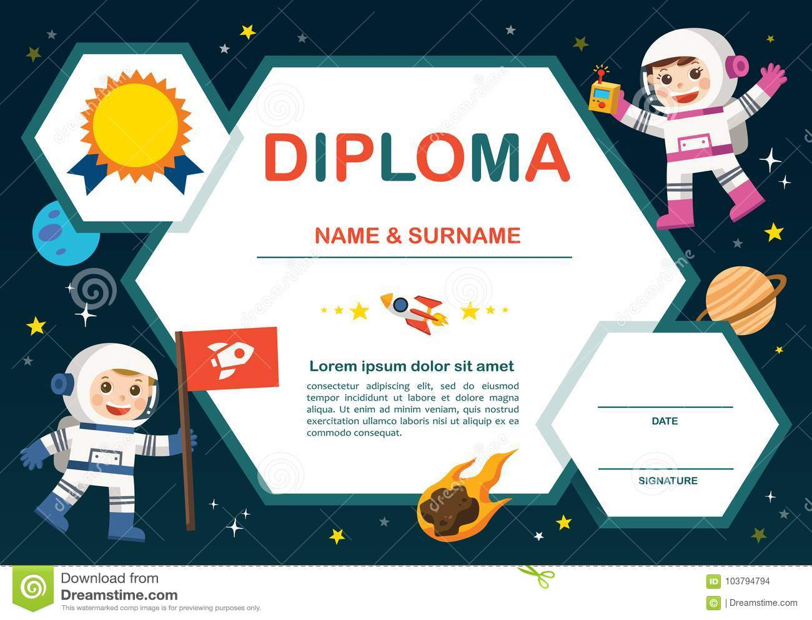 Conceito do pré-escolar da educação O certificado caçoa o diploma,