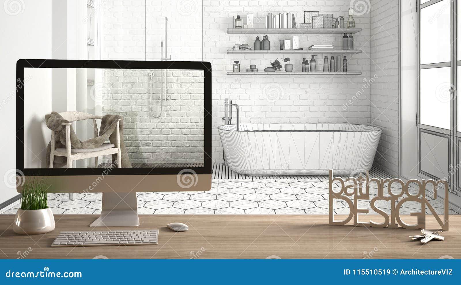 Conceito do projeto do desenhista do arquiteto, tabela de madeira com projeto do banheiro das palavras das chaves, das letras 3D