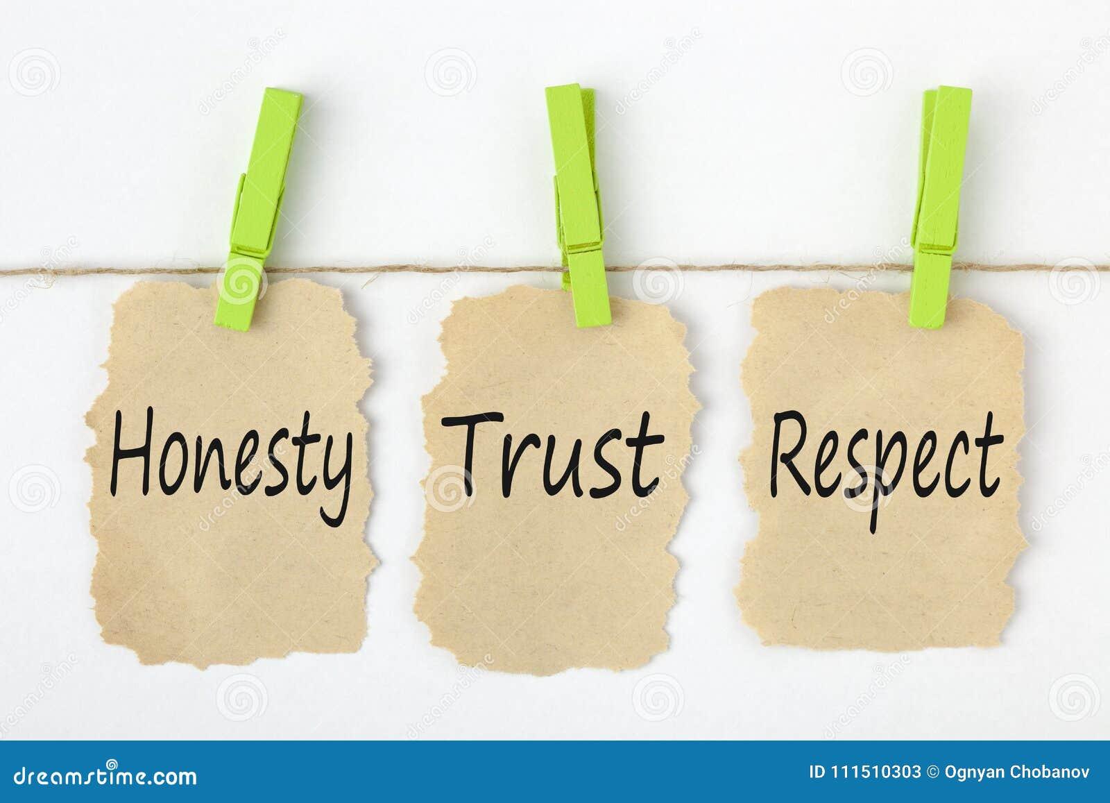 Conceito do respeito da confiança da honestidade