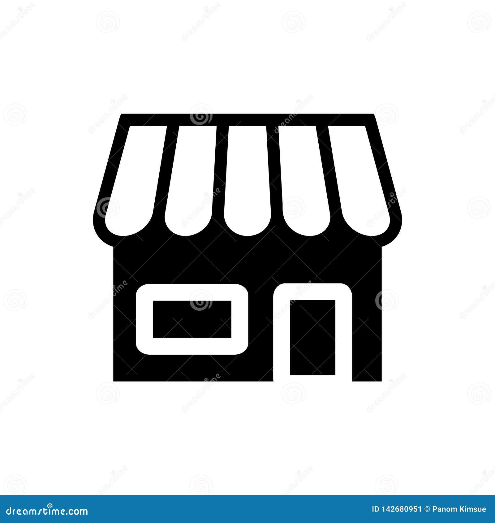 Conceito do retalho do símbolo da loja do ícone do vetor da mercearia para o projeto gráfico, logotipo, site, meio social, app