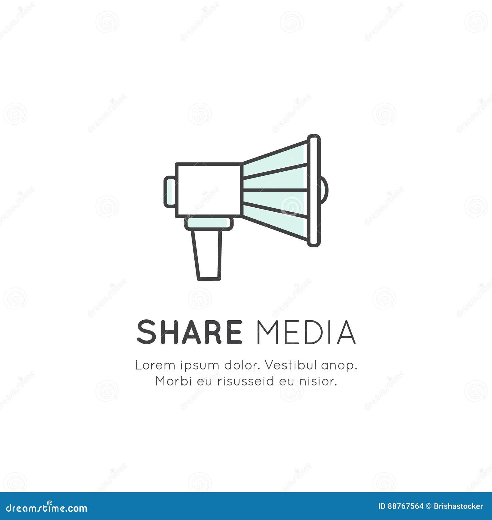 Conceito do símbolo como da apreciação, polegar acima, parte, altifalante, megafone