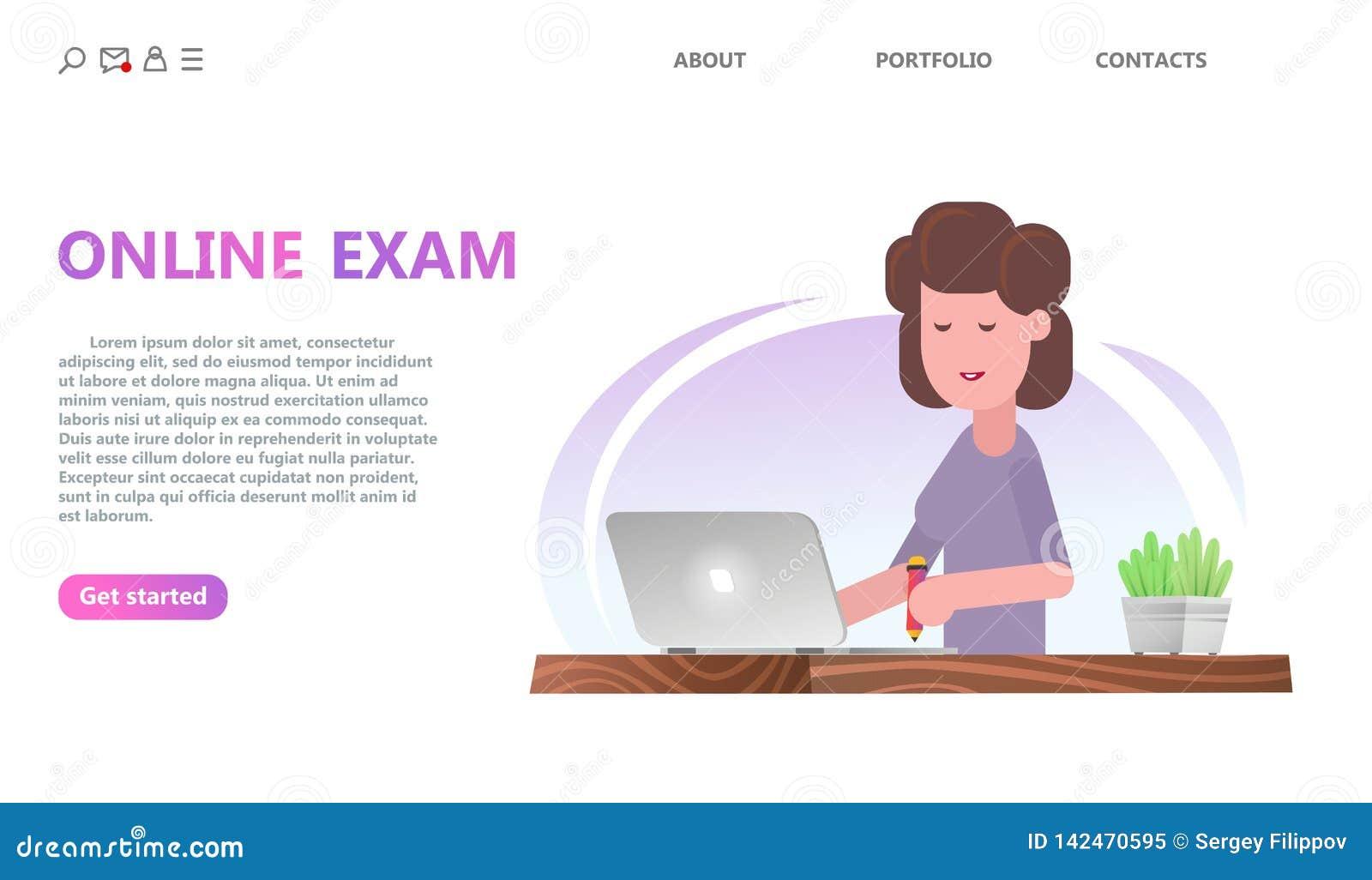 Conceito do serviço dos testes em linha ou do exame