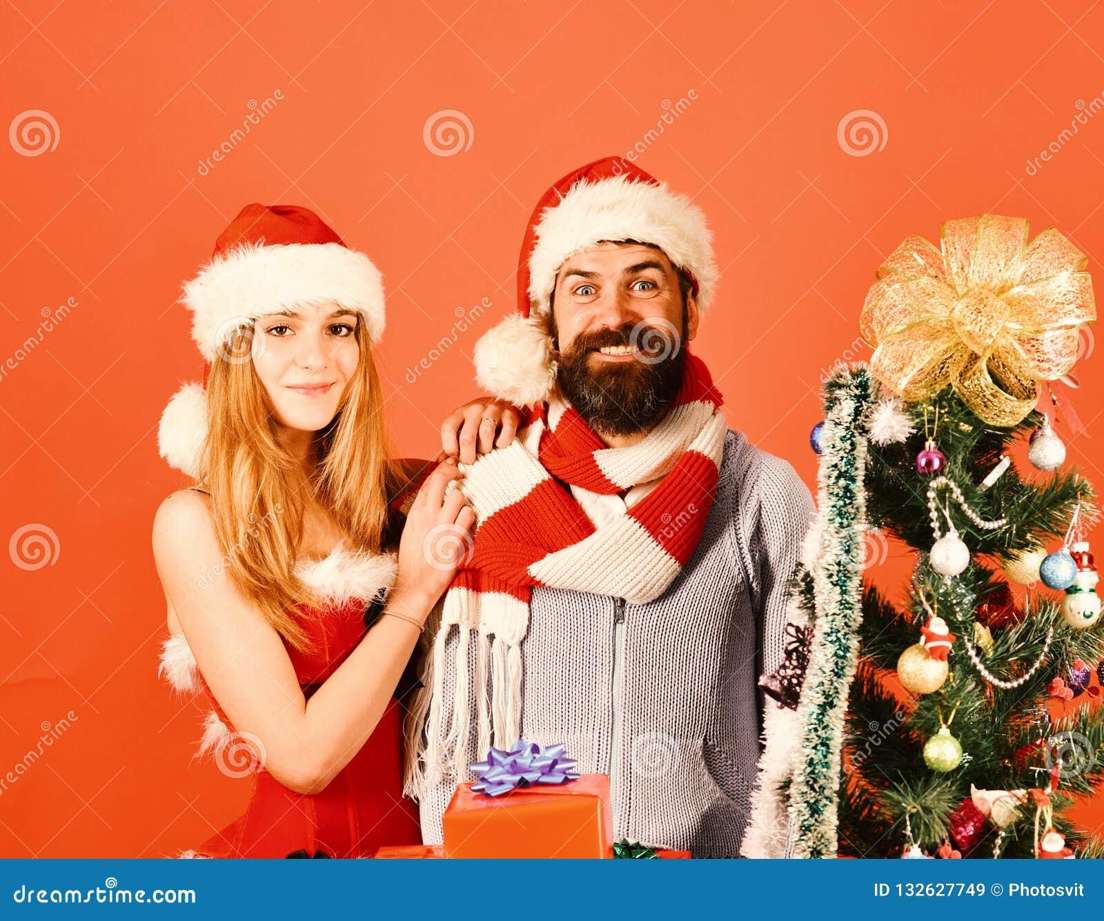 Conceito do tempo do ano novo e do Natal Senhor e Missis Claus