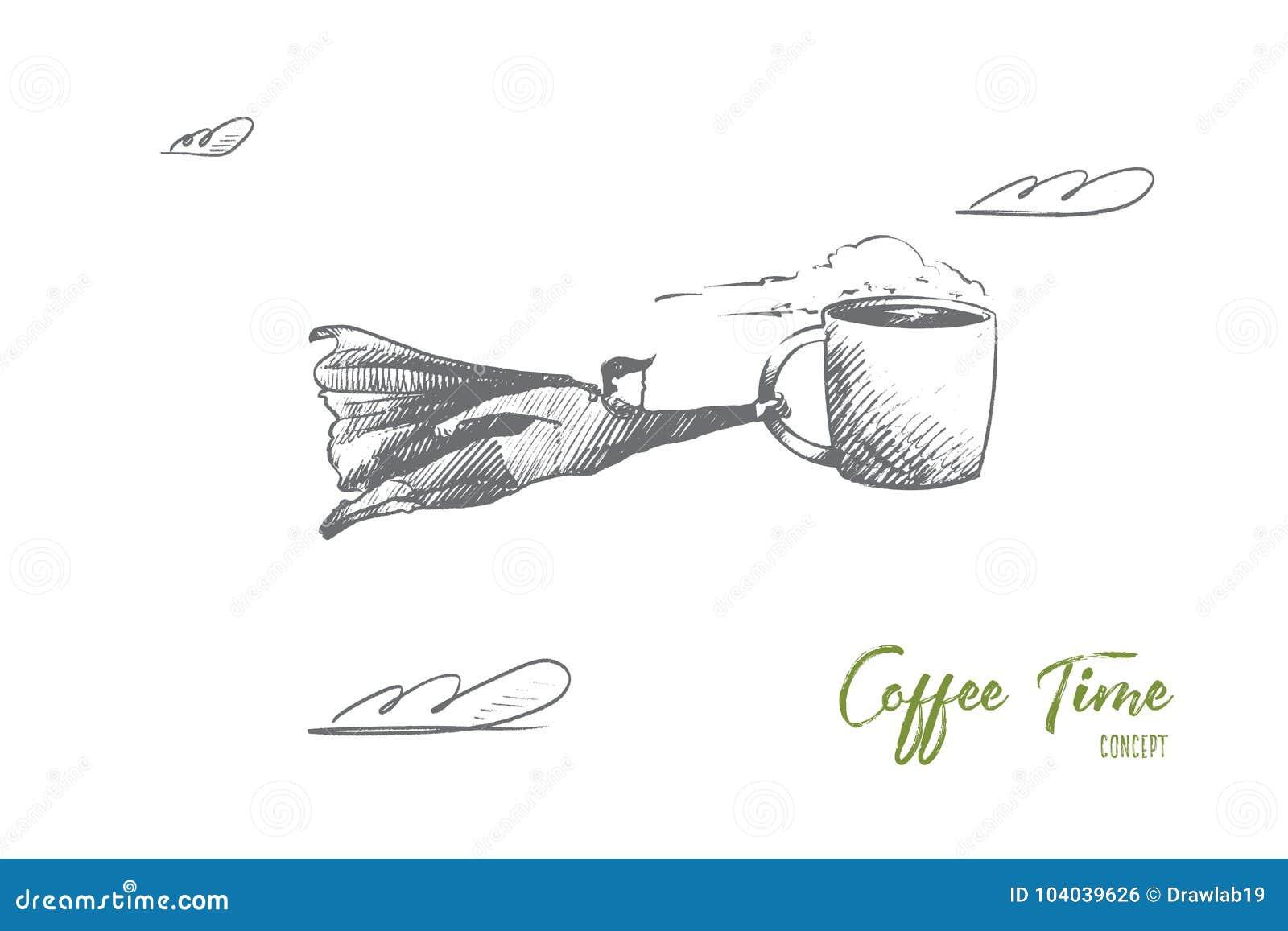 Conceito do tempo do café Vetor isolado tirado mão