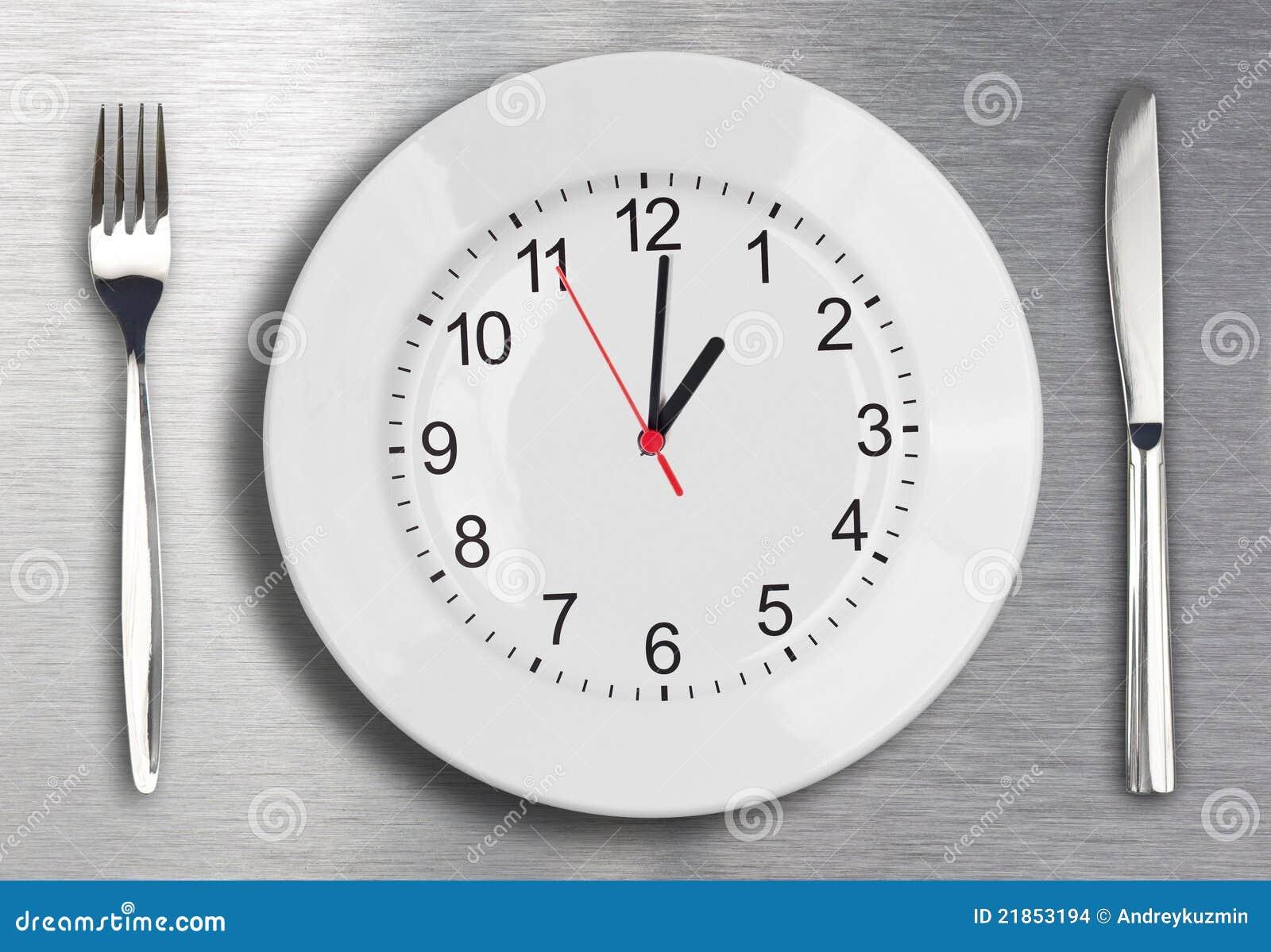 Conceito do tempo do almoço