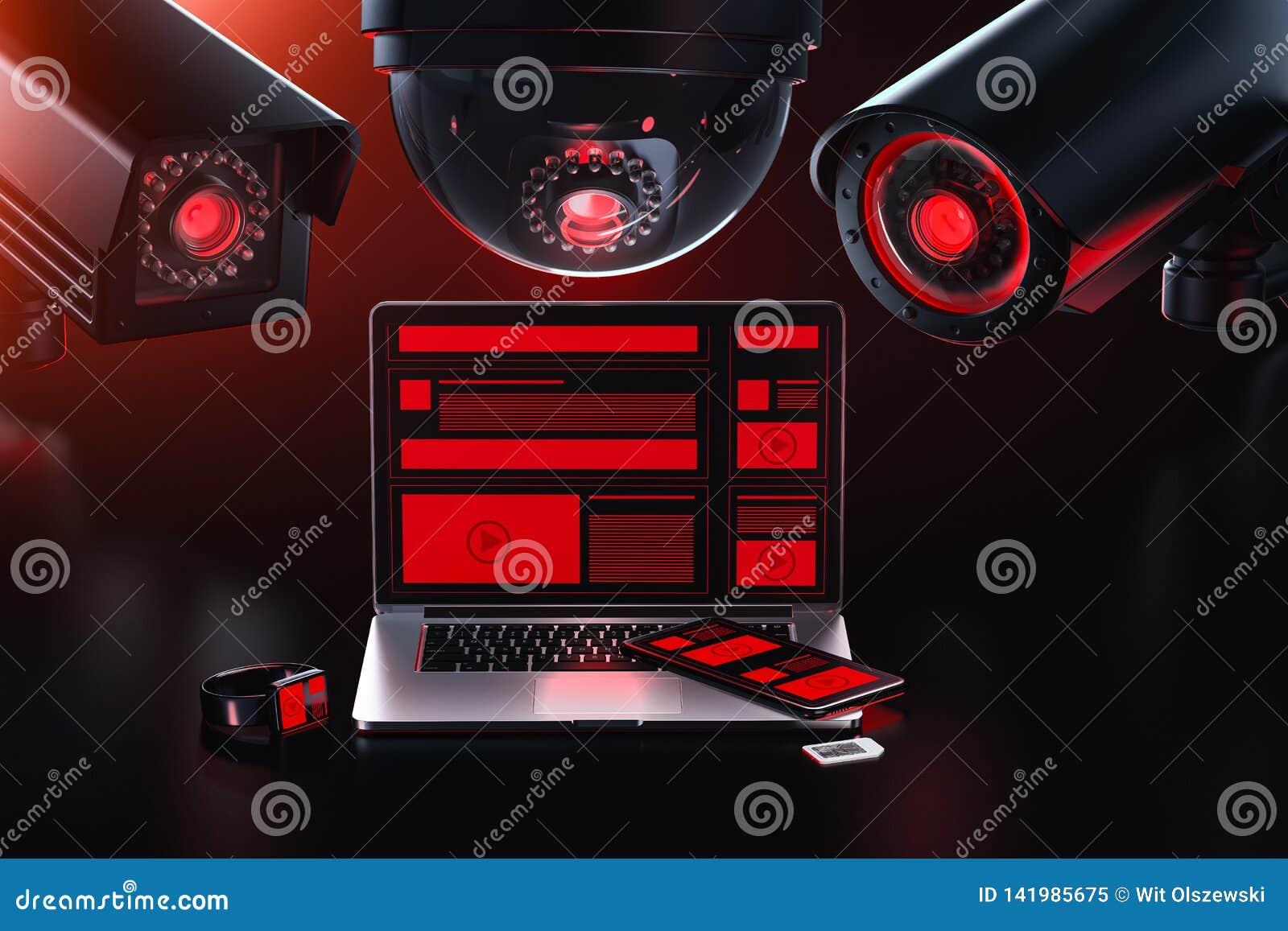 Conceito do vazamento de dados A c?mera diferente do cctv tr?s est? espiando em um computador que verifica para ver se h? dados s