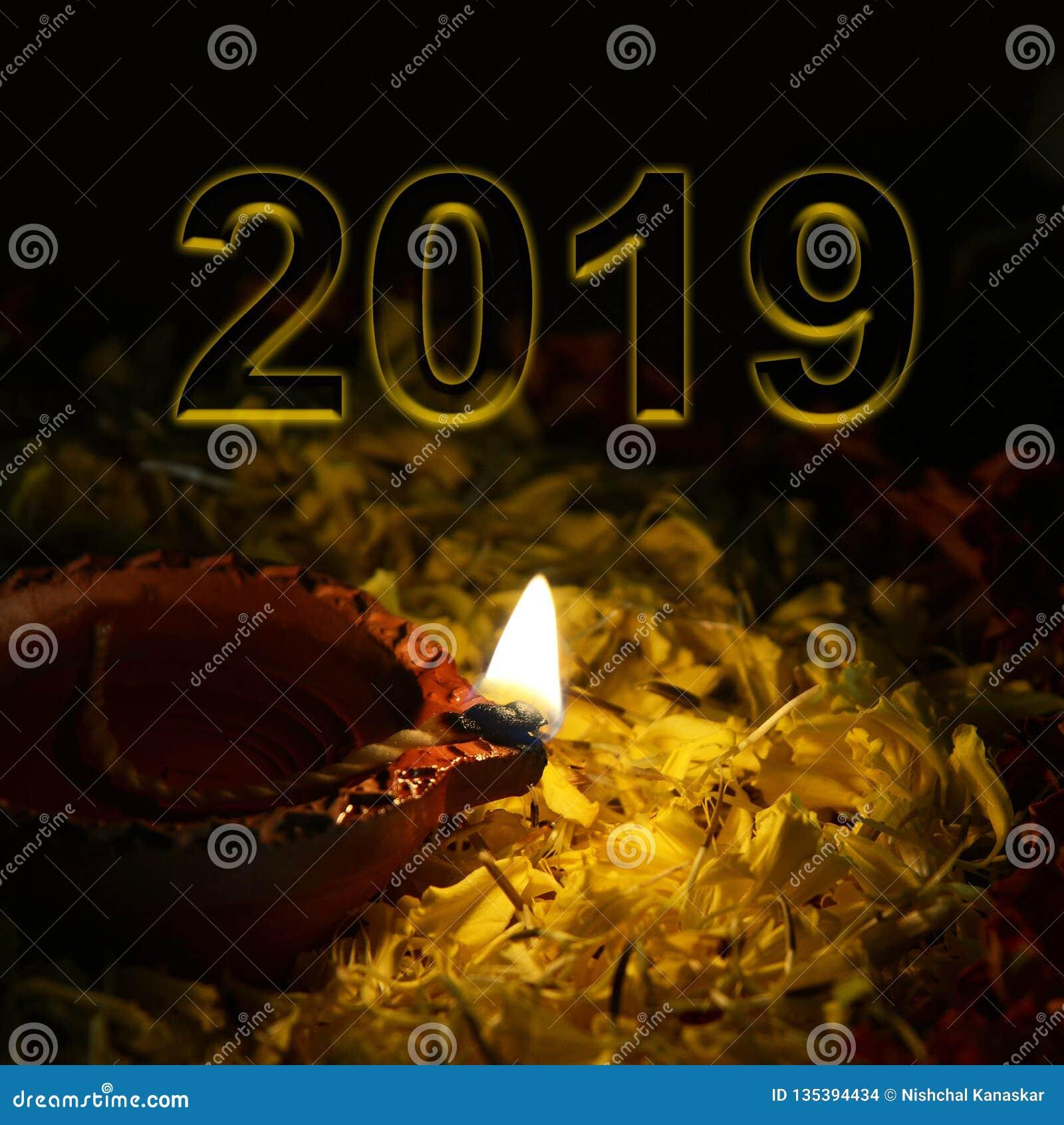 Conceito dos cumprimentos do ano novo 2019 da boa vinda