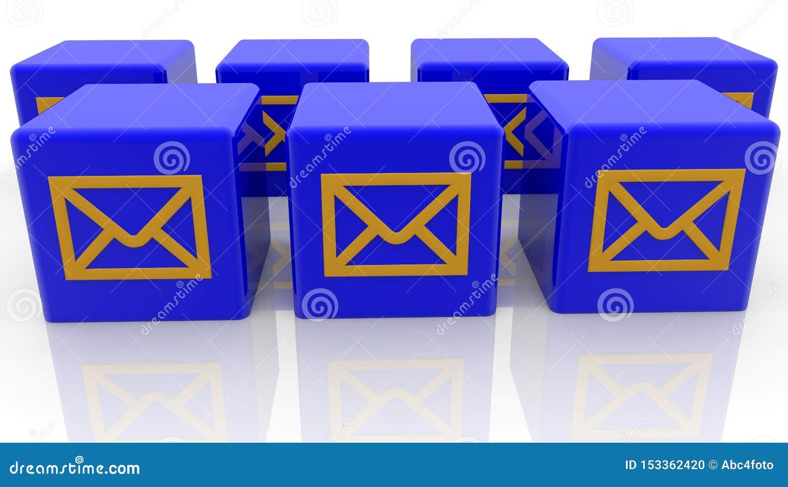 Conceito dos envelopes em cubos do brinquedo na cor azul