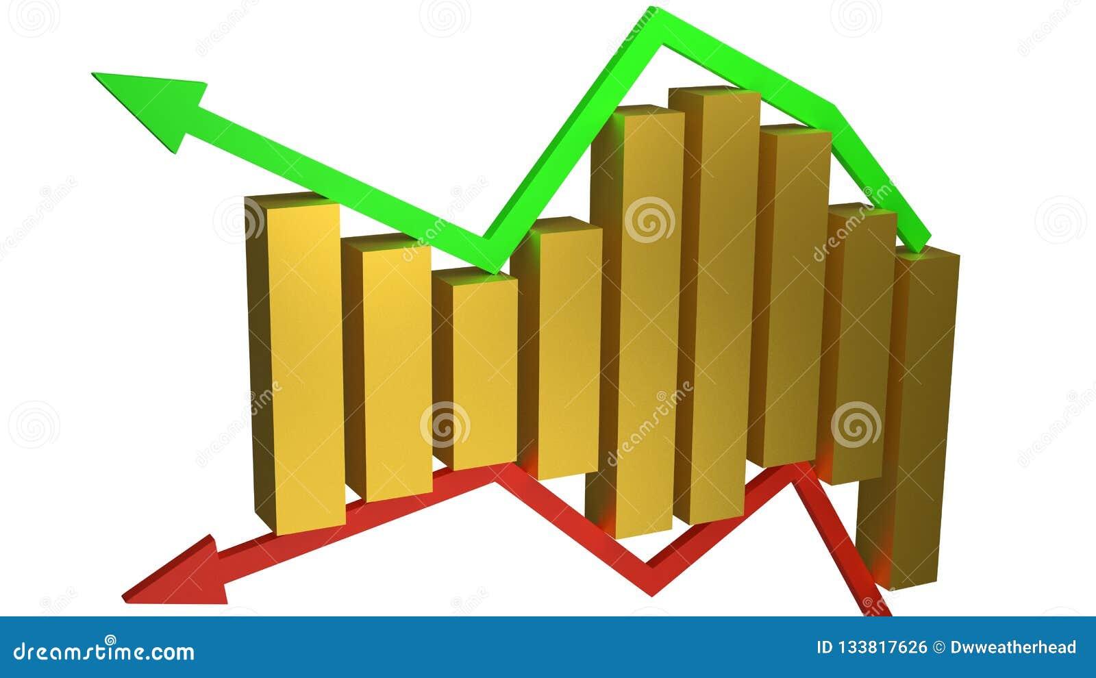 Conceito dos ganhos e das perdas do negócio representados pelas barras de ouro que sentam-se entre as setas verdes e vermelhas is