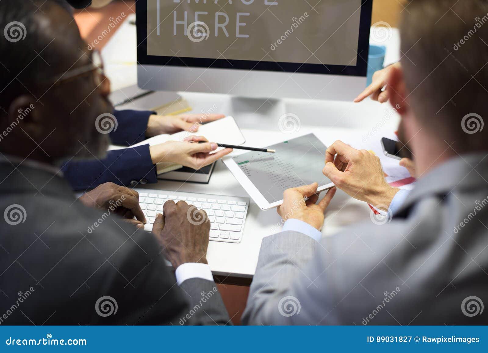 Conceito dos trabalhos de equipa da conferência dos colegas do negócio