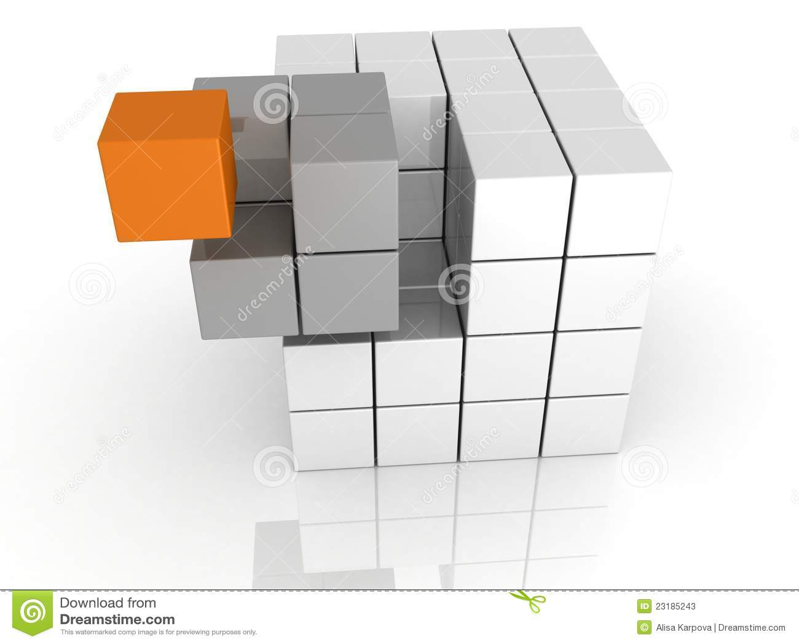 Conceito dos trabalhos de equipa do cubo do unicue da individualidade