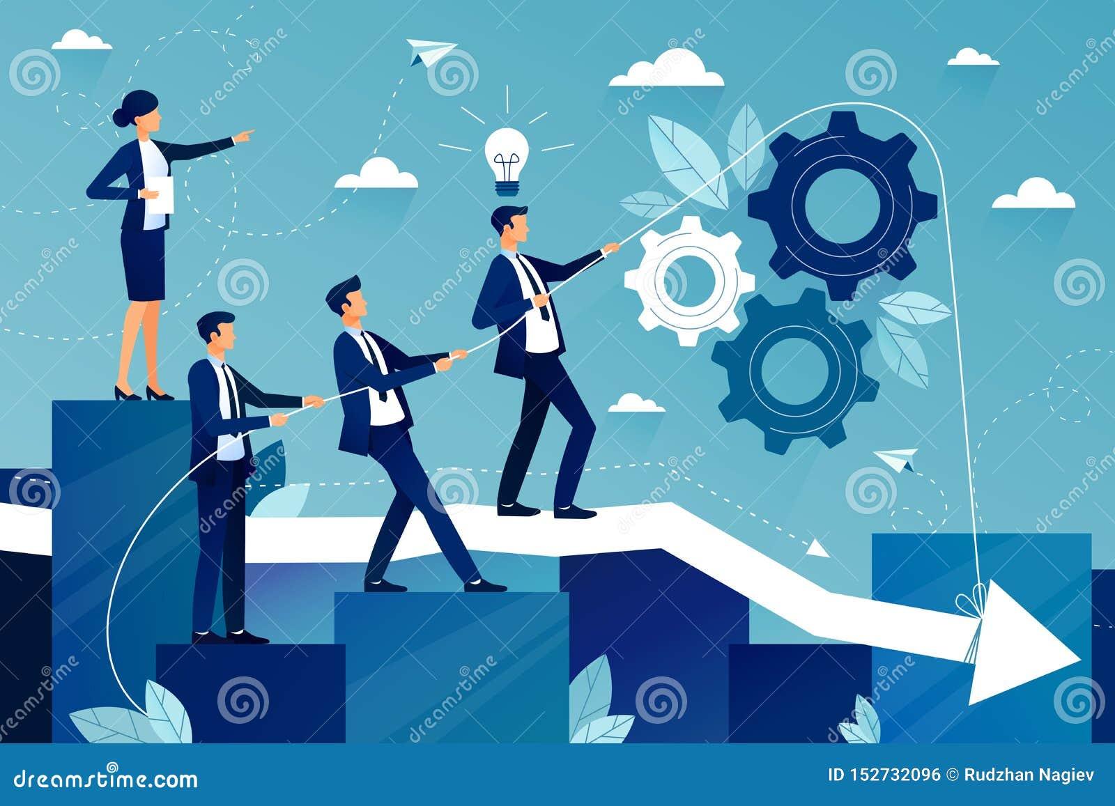 Conceito dos trabalhos de equipe na empresa de negócio Equipe do negócio que anda ao sucesso Maneira fêmea da exibição do chefe a