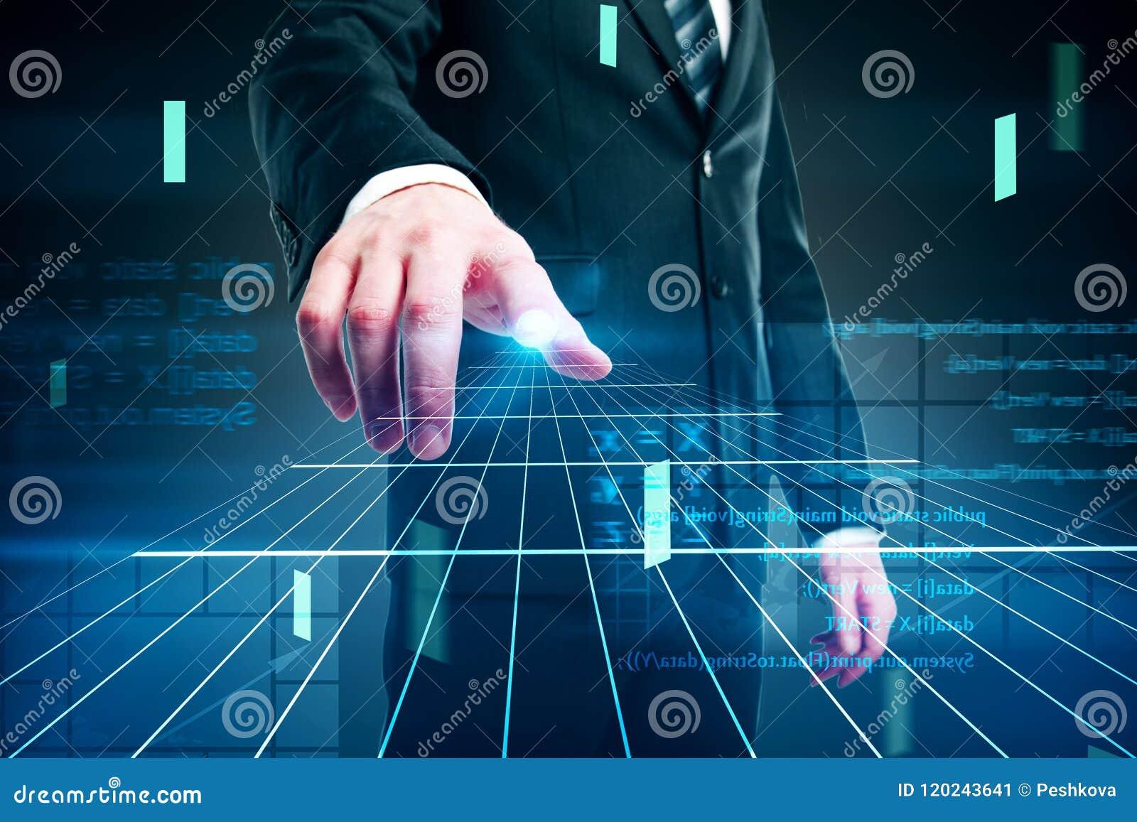 Conceito e homem de negócios do Cyberspace